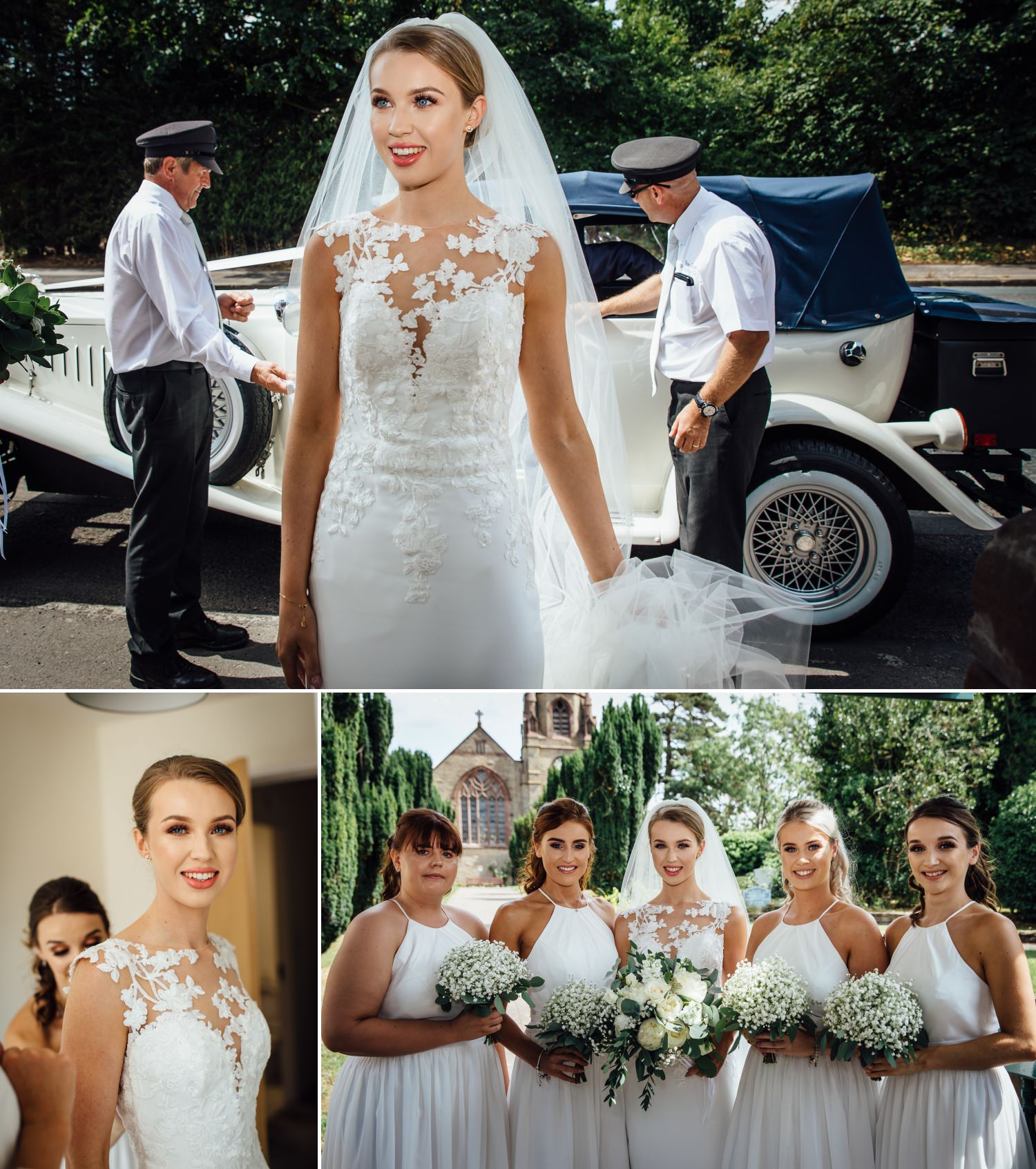 Wedding photography of bride arriving at church at Milton Hall, Lancashire