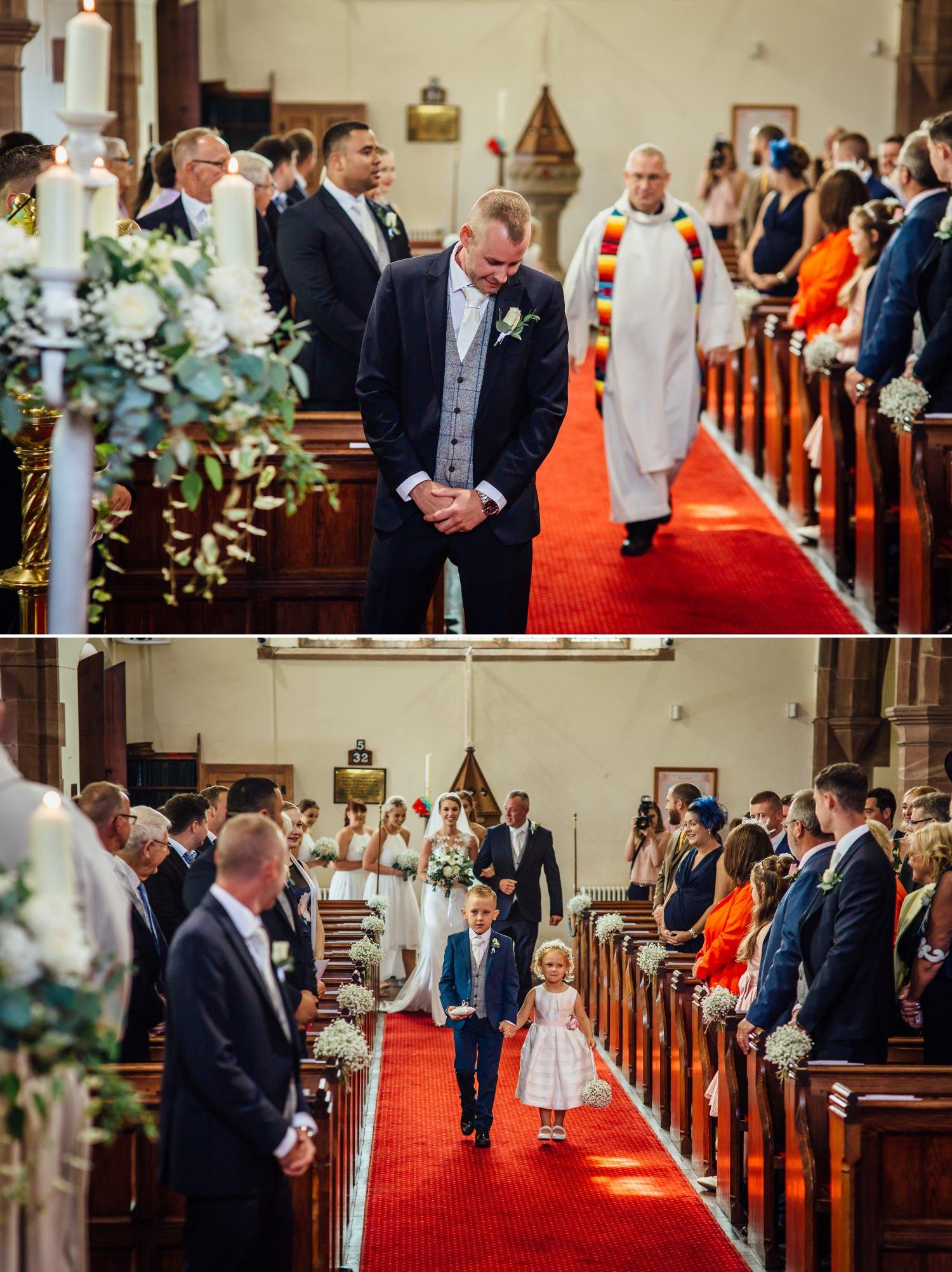 Wedding photography of groom awaiting the bride at Milton Hall, Lancashire