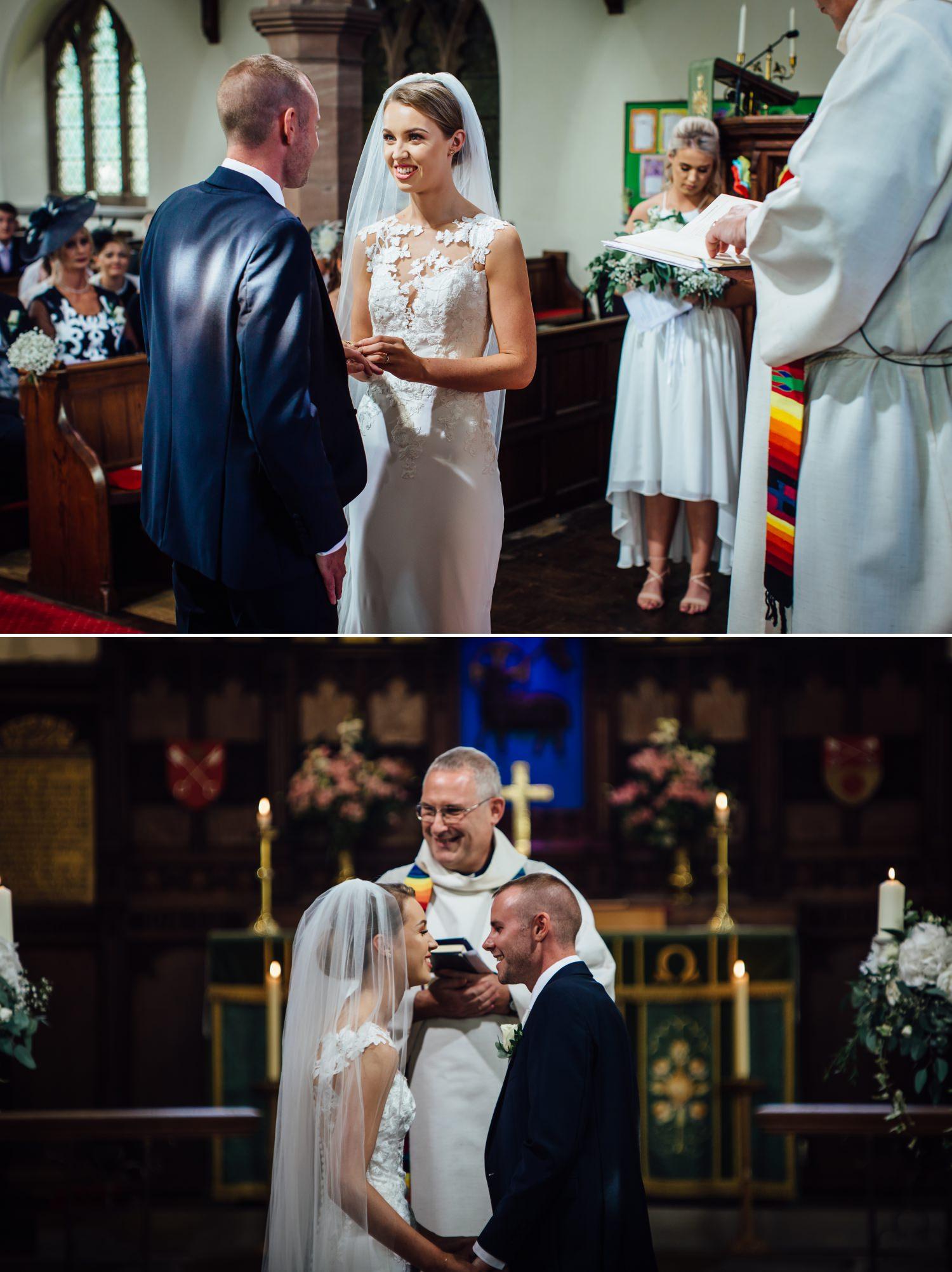 Wedding photography of first kiss at Milton Hall, Lancashire