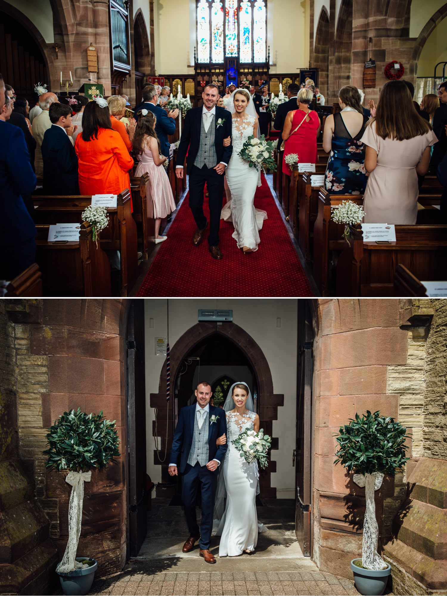 Wedding photography of couple leaving the ceremony at Milton Hall, Lancashire