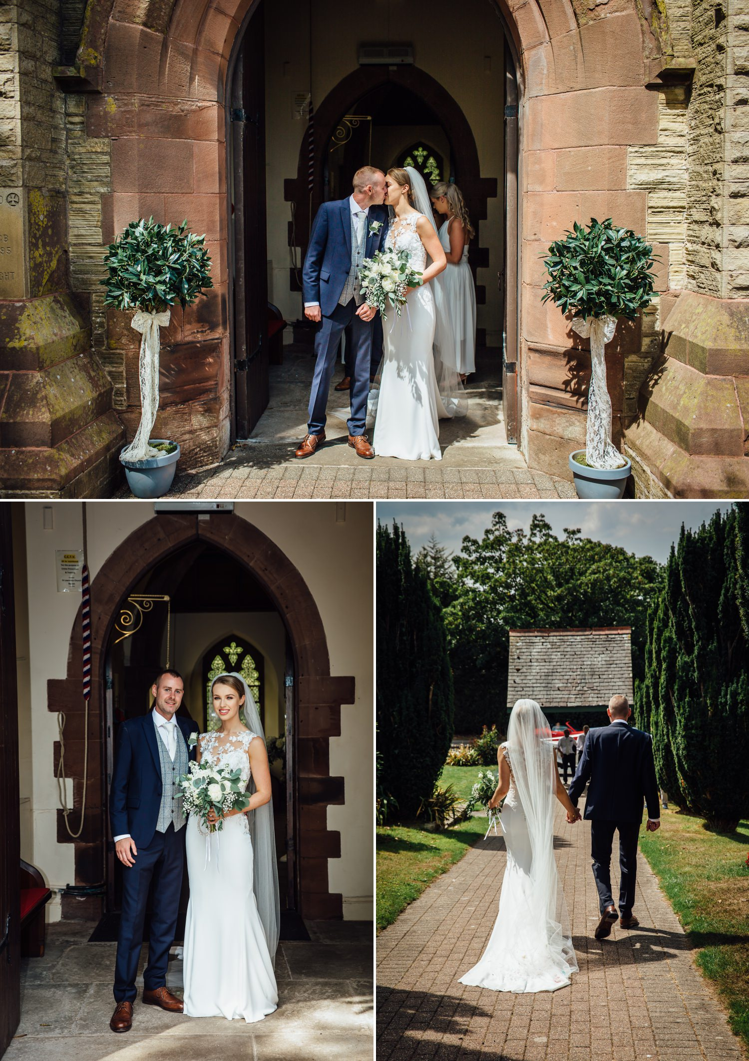 Wedding photography of couple getting into car at Milton Hall, Lancashire