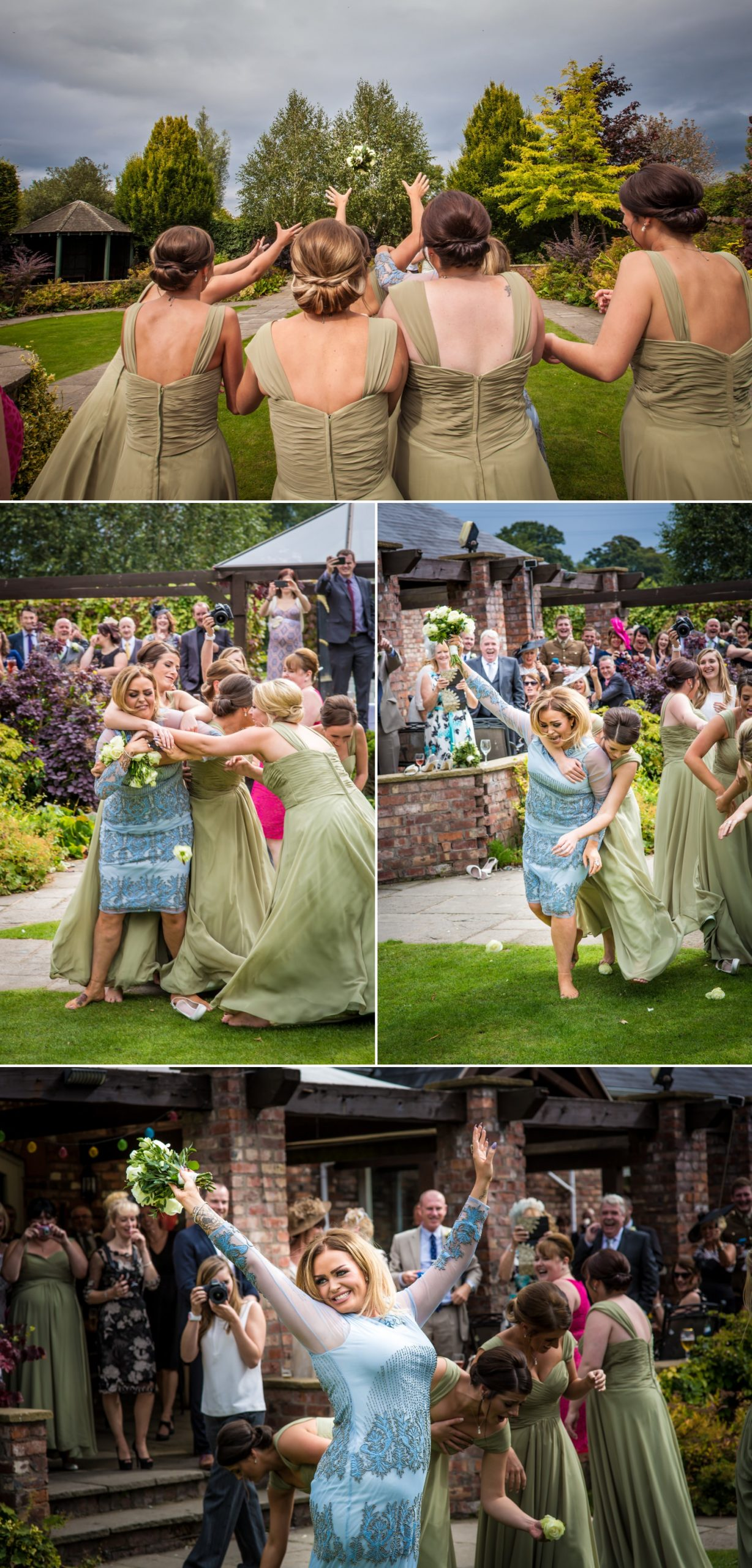 Bouquet toss photograph at wedding in Lion Quays, Oswestry, Shropshire