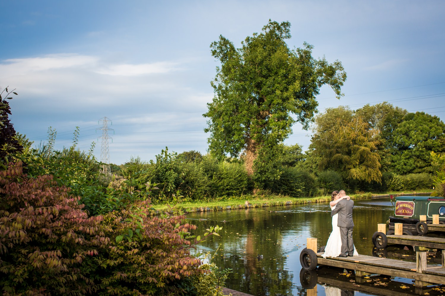 Wedding portrait on canal at Lion Quays, Oswestry, Shropshire
