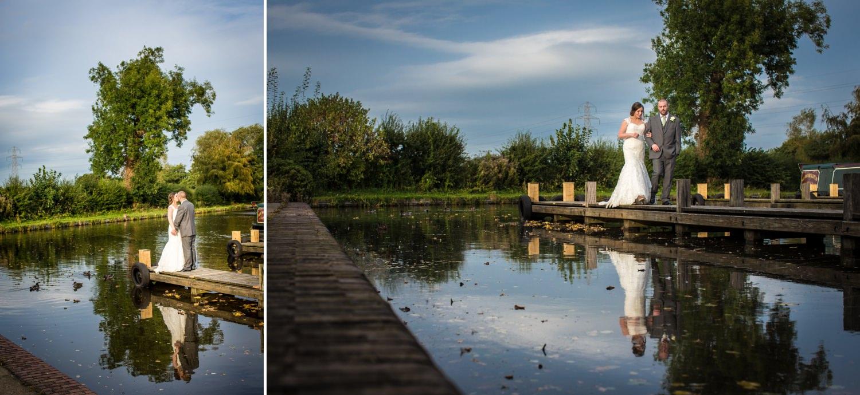 Lion Quays, Oswestry, Shropshire wedding canal side portrait photographs