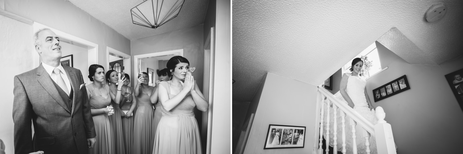Wedding photograph of bride coming down stairs ready for Lion Quays wedding