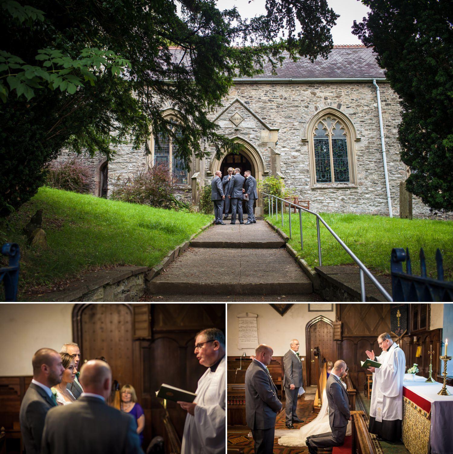 Outside Glyn Ceiriog Church, Nant Y Garth, Church Hill, Glyn Ceiriog, Llangollen and inside for wedding ceremony photographs
