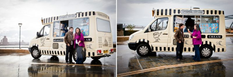 Wedding photographers in Liverpool, eating ice cream