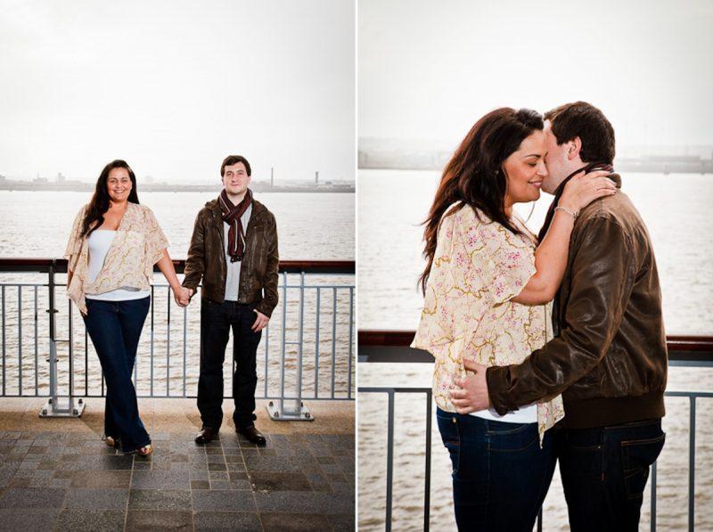 Wedding couple posing in Liverpool docks