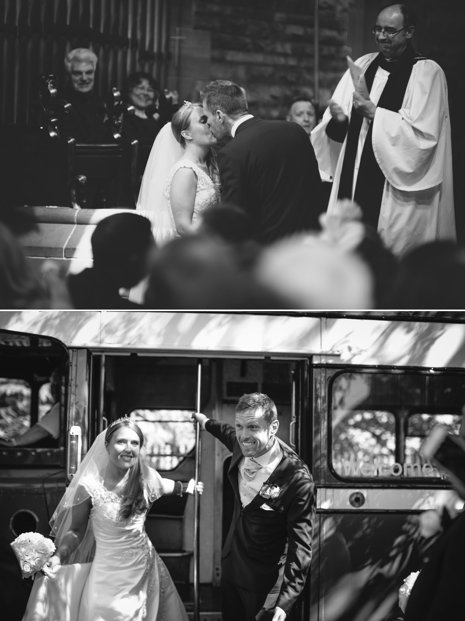 Wedding photography of a first kiss in wedding ceremony in Liverpool