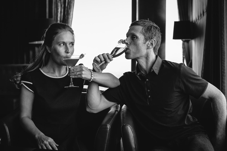 Drinks on pre-wedding photoshoot Liverpool