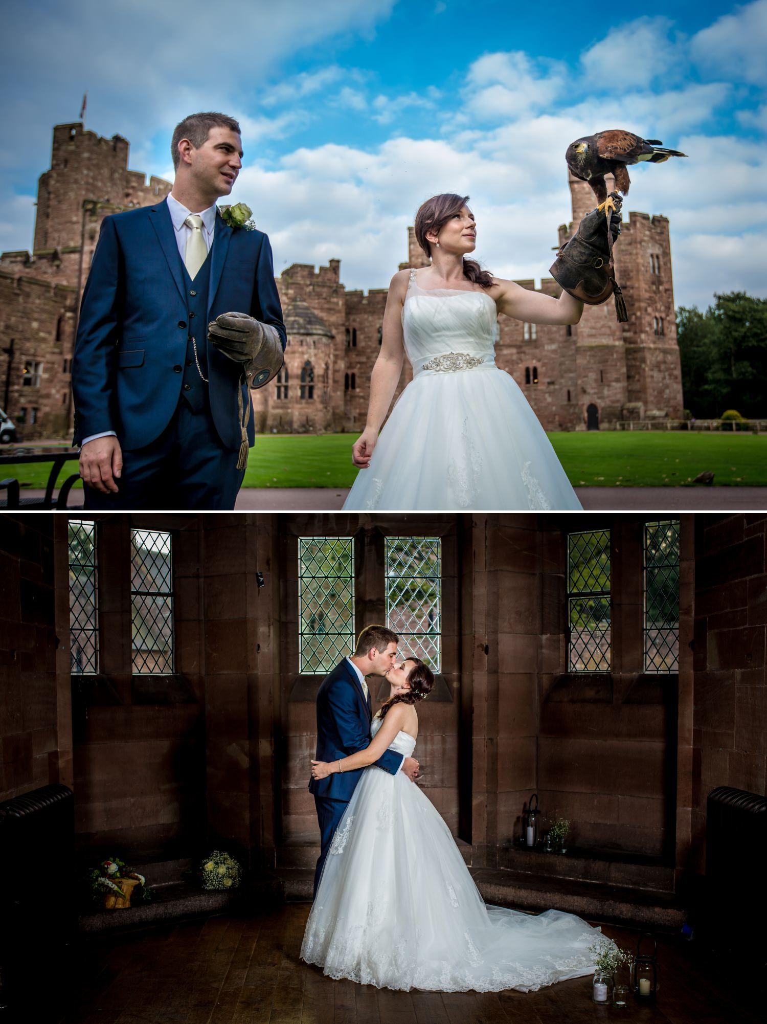 Bride and groom at Cheshire wedding venue Peckforton Castle