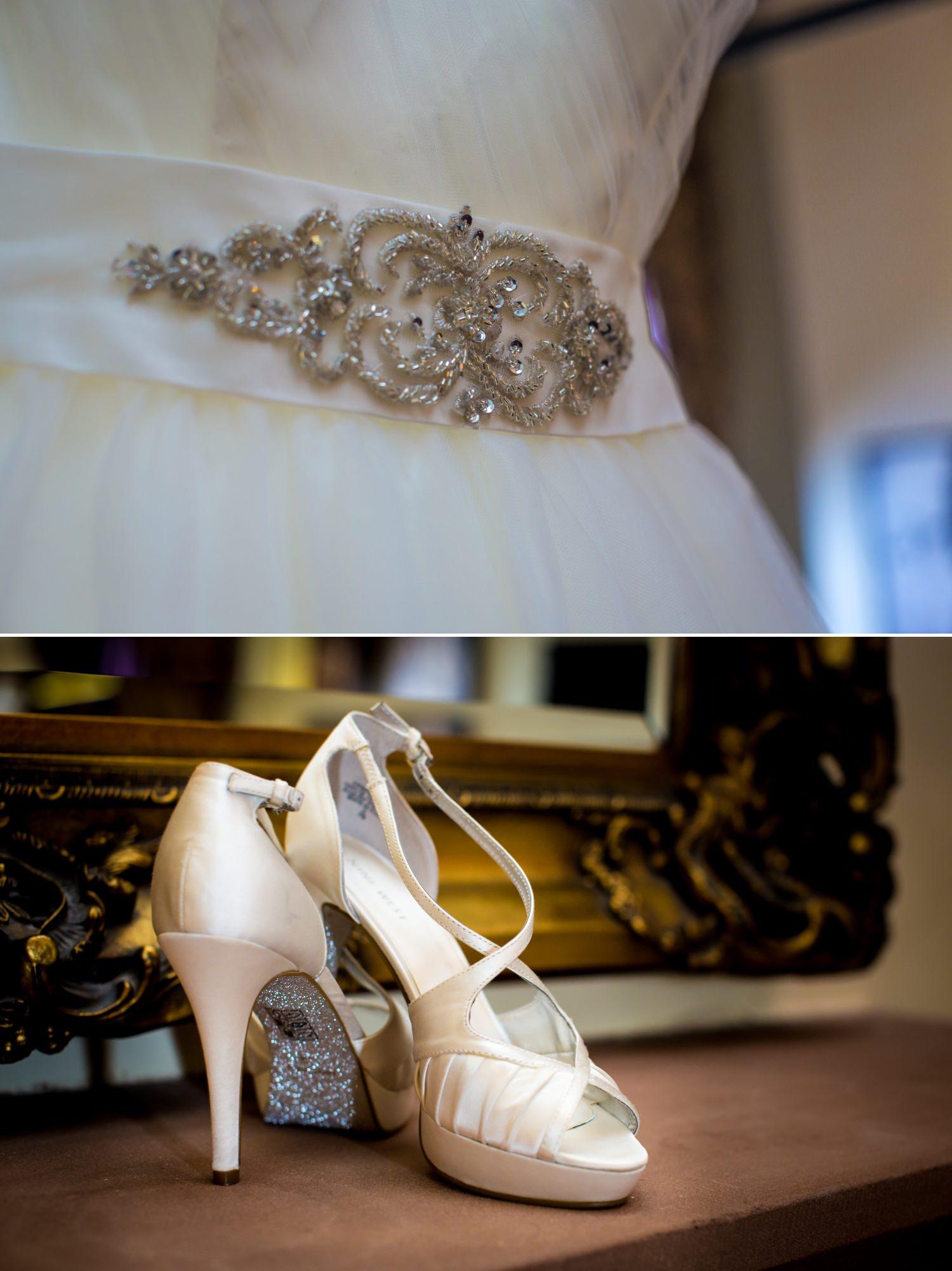 Wedding Photograph of wedding dress displayed at Peckforton Castle