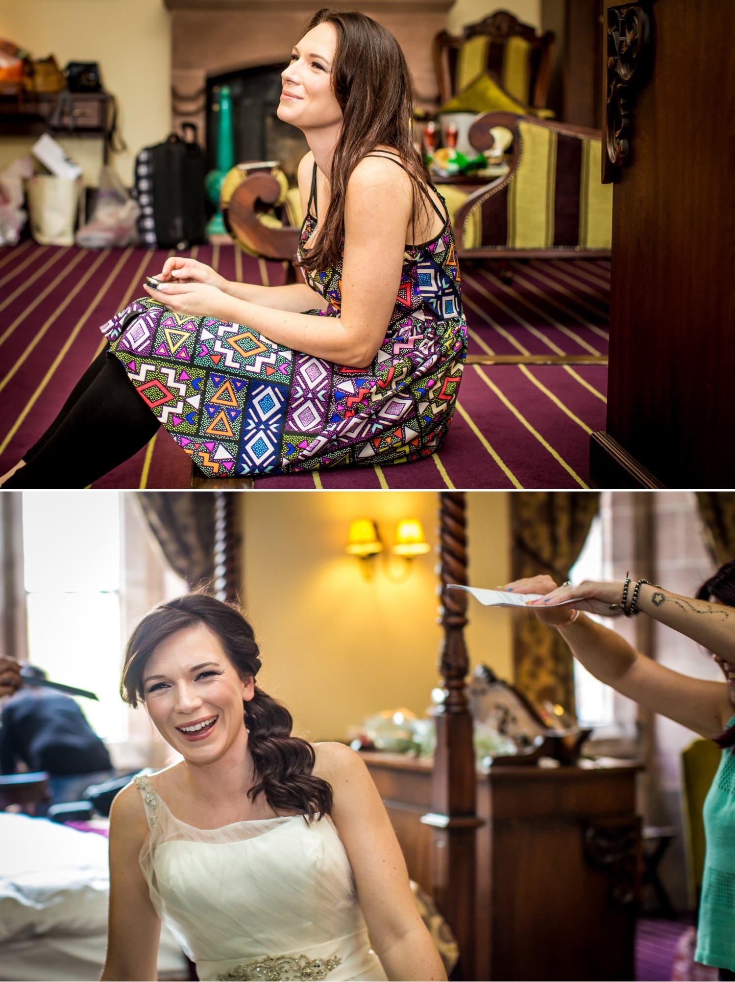 Wedding Photograph of bride getting ready at Peckforton Castle