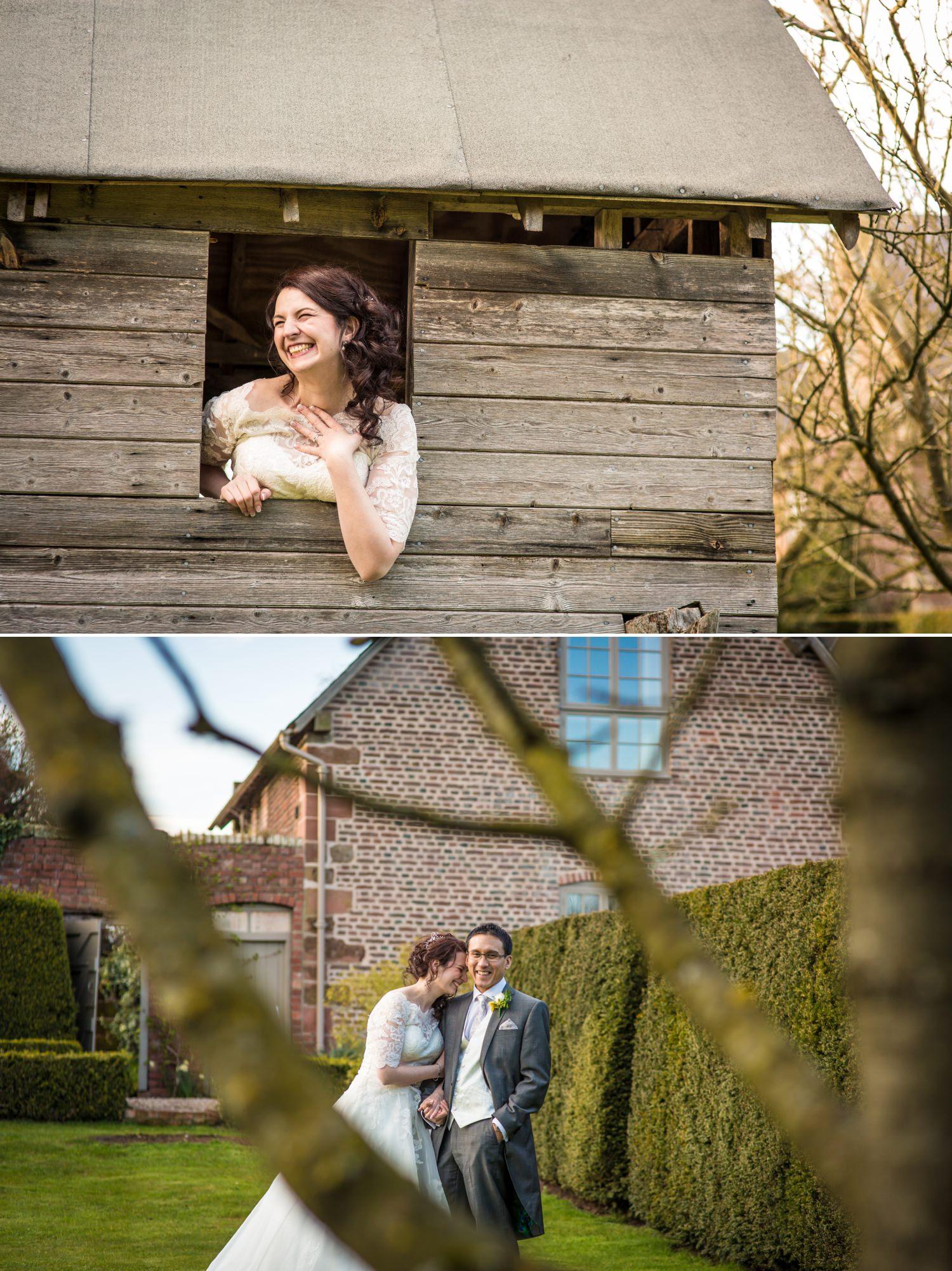 Wedding Photograph of couple having fun at Pimhill Barn, Shropshire