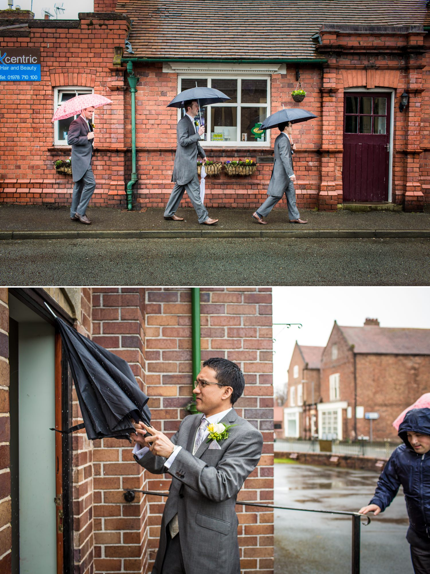 Wedding Photographof groomswen with umbrellas at Pimhill Barn, Shropshire