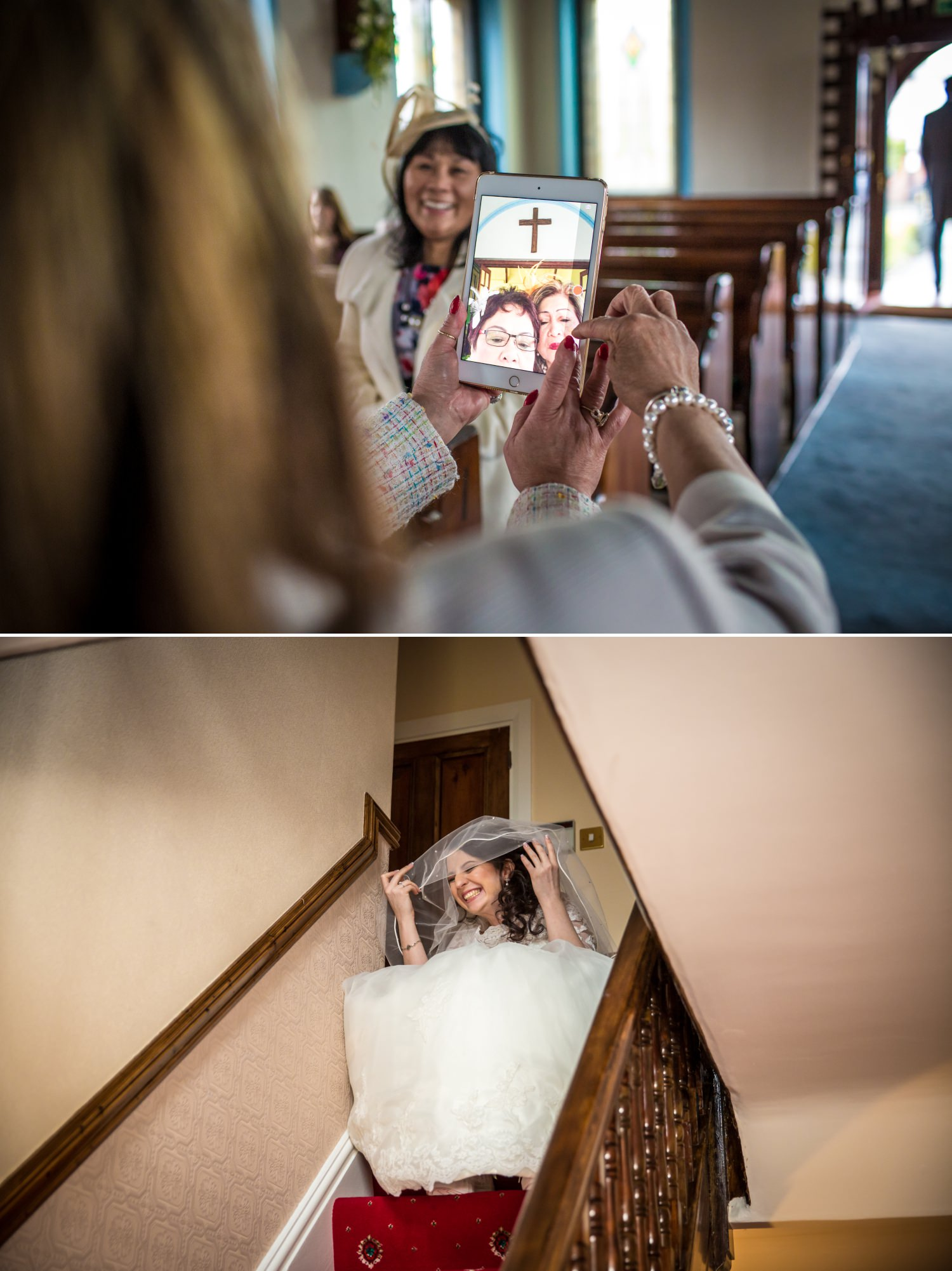Wedding Photograph of bride getting ready at Pimhill Barn, Shropshire