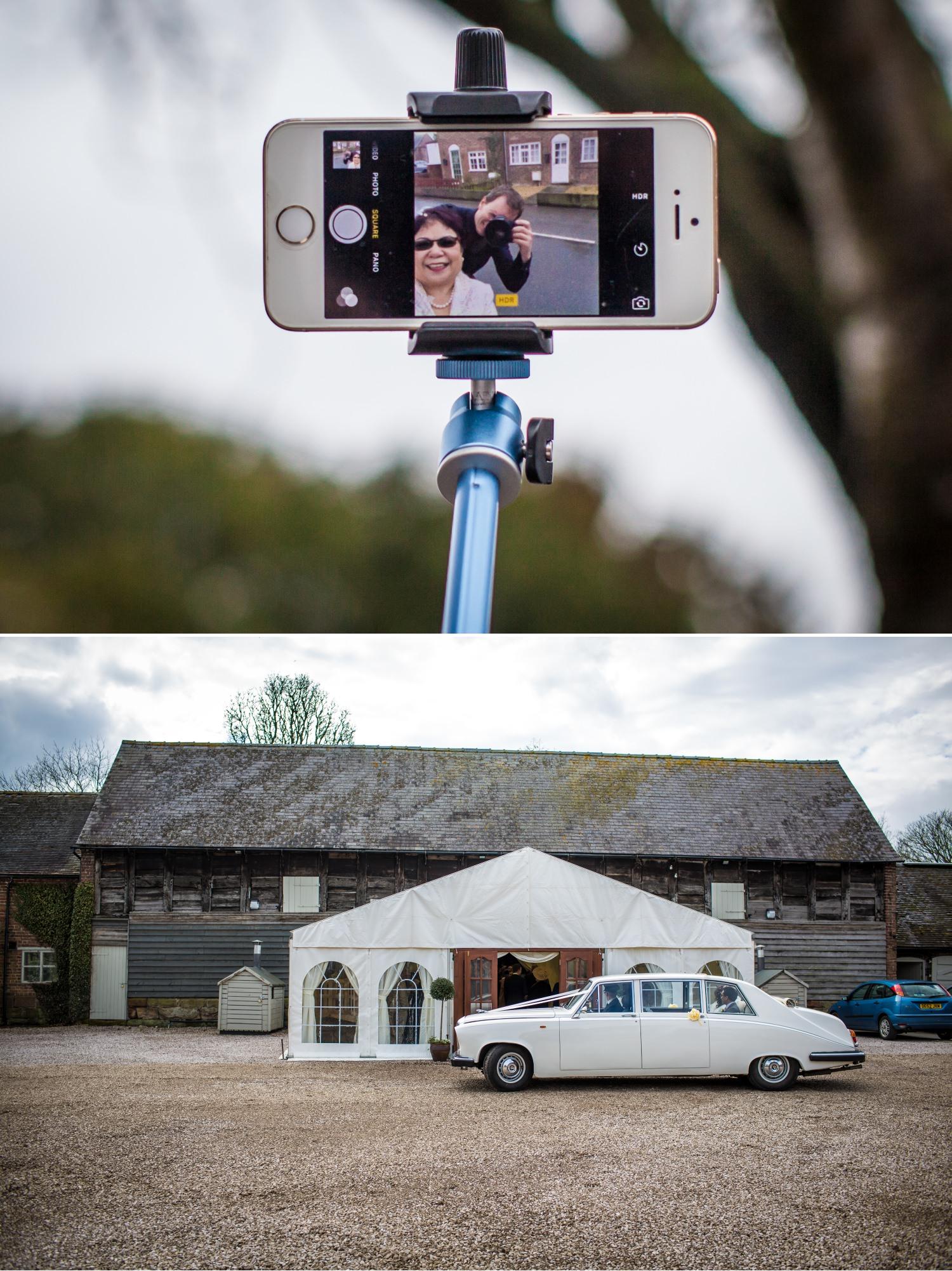 Wedding Photograph of wedding car at Pimhill Barn, Shropshire