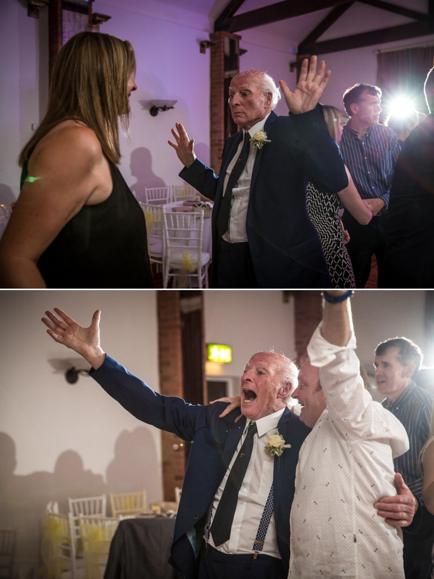 old man dancing Wedding Photograph at Carden Park