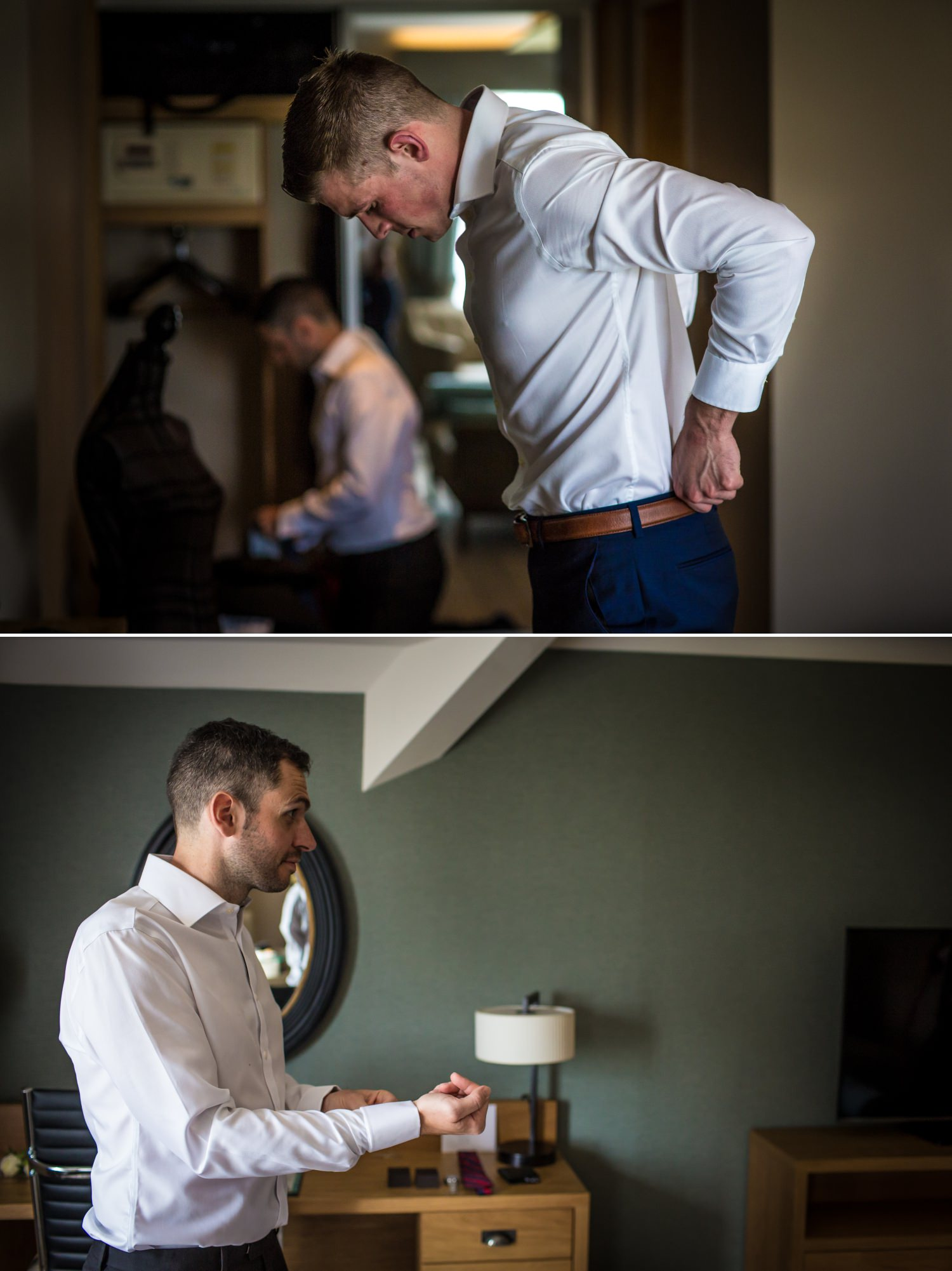 Wedding Photograph of groom getting ready at Carden Park