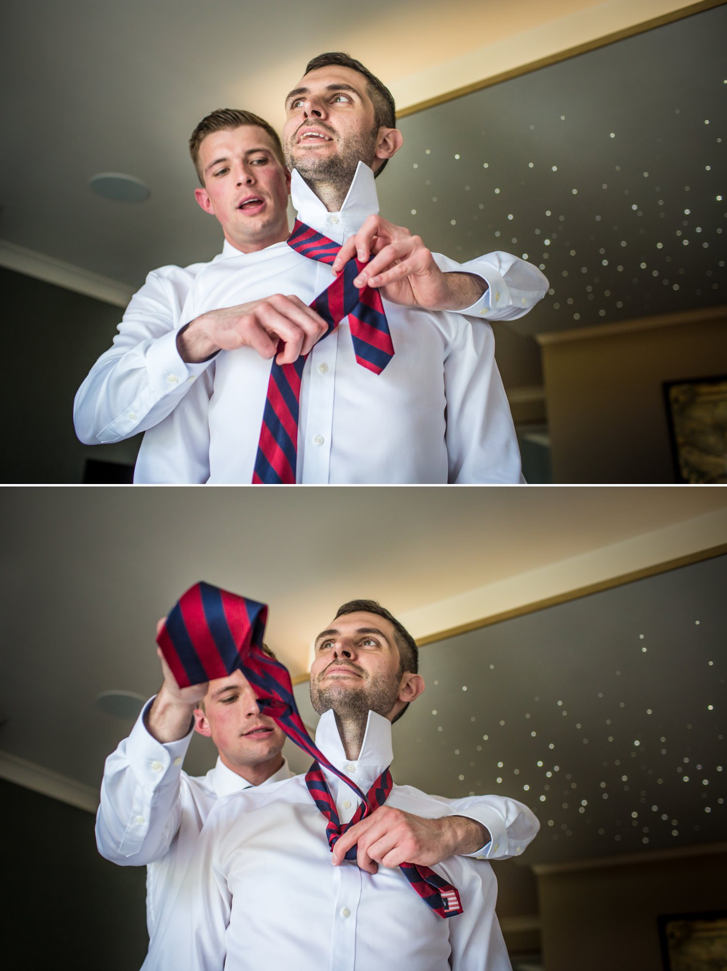 wedding photograph of groom putting tie on at Carden Park
