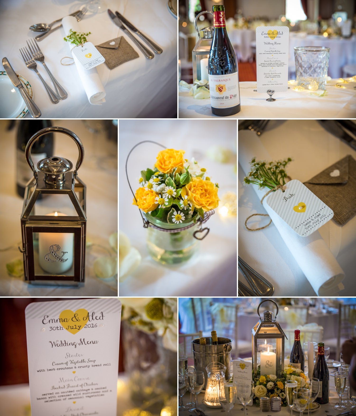 Wedding Photography of yellow table theme at Carden Park