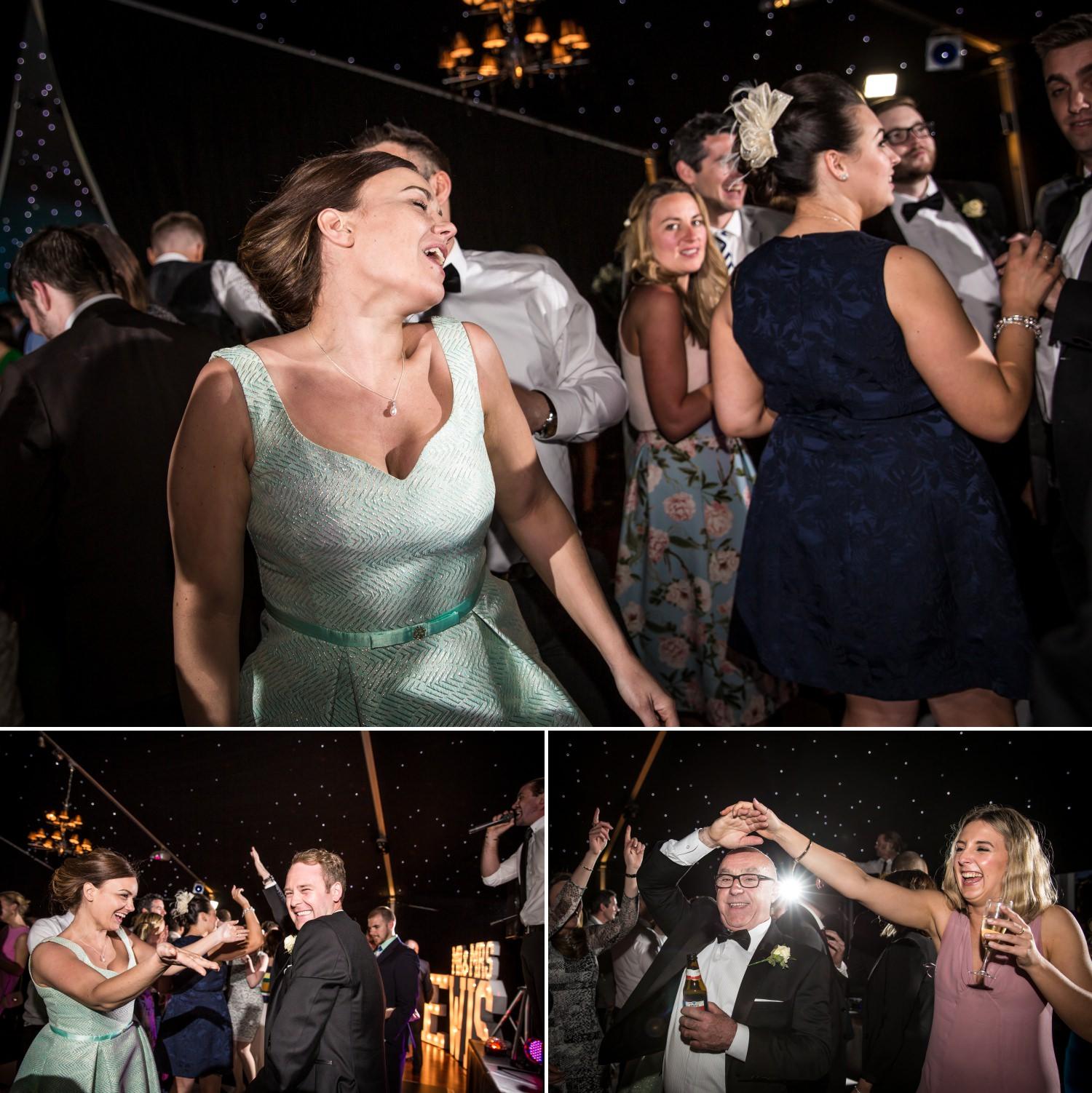 Guests dancing at Hillbark hotel wedding venue