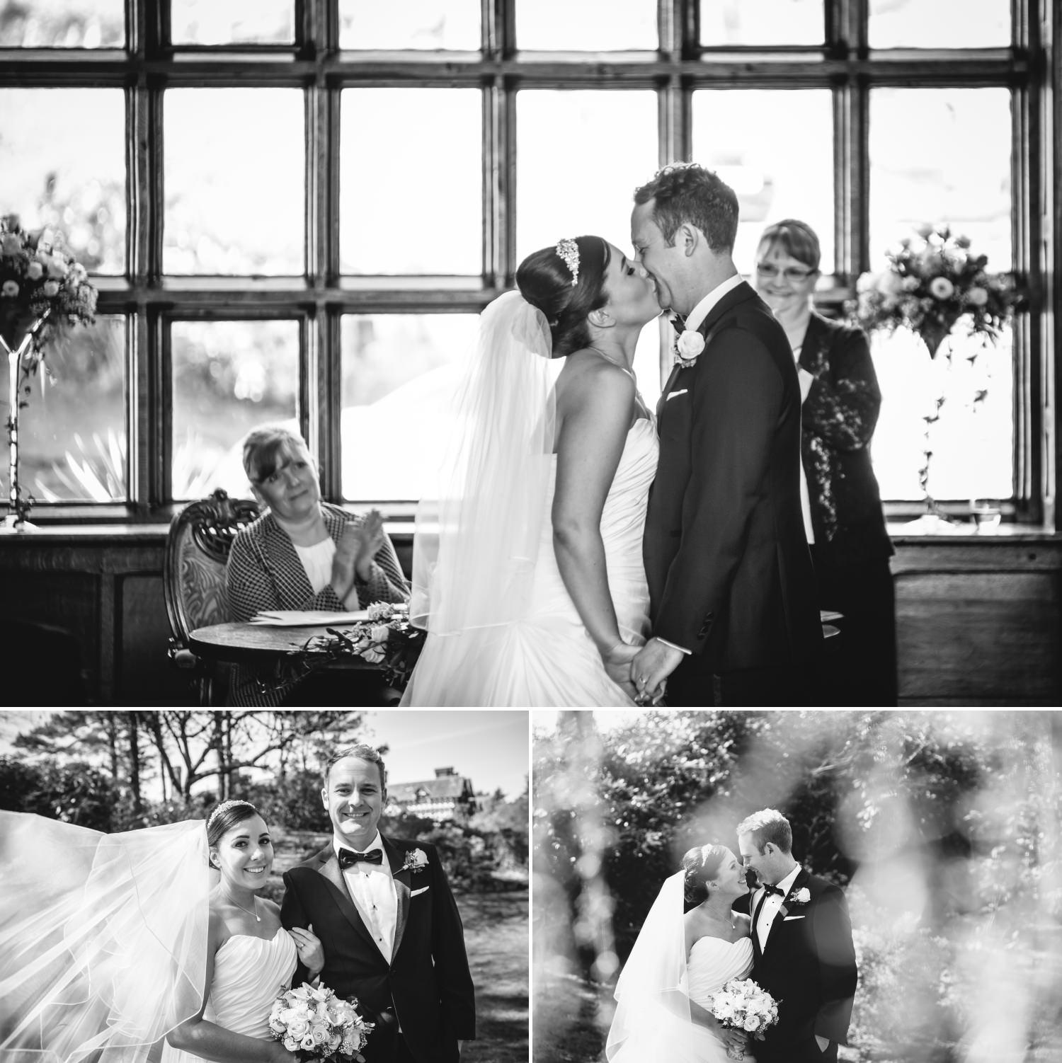First kiss photograph at Hillbark hotel wedding venue