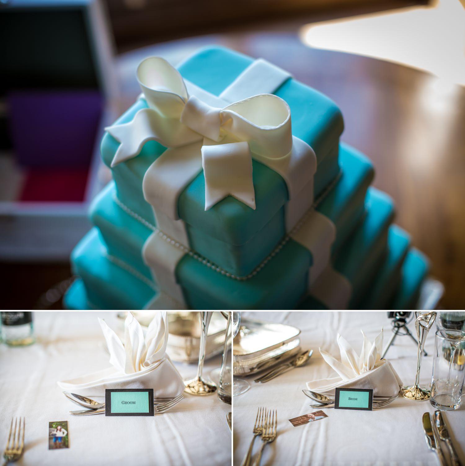 Tiffany wedding details at Hillbark hotel wedding venue