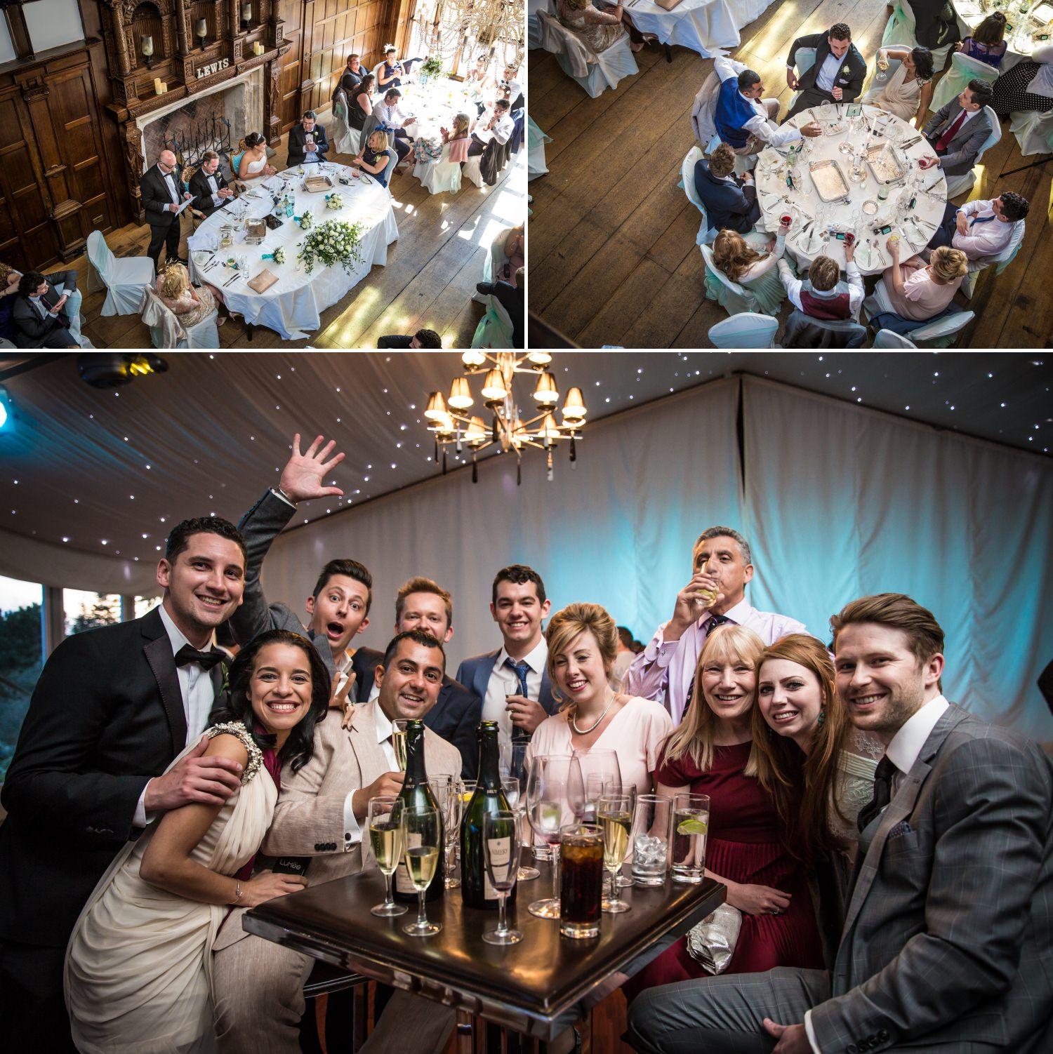 Photographs of friends at Hillbark hotel wedding venue