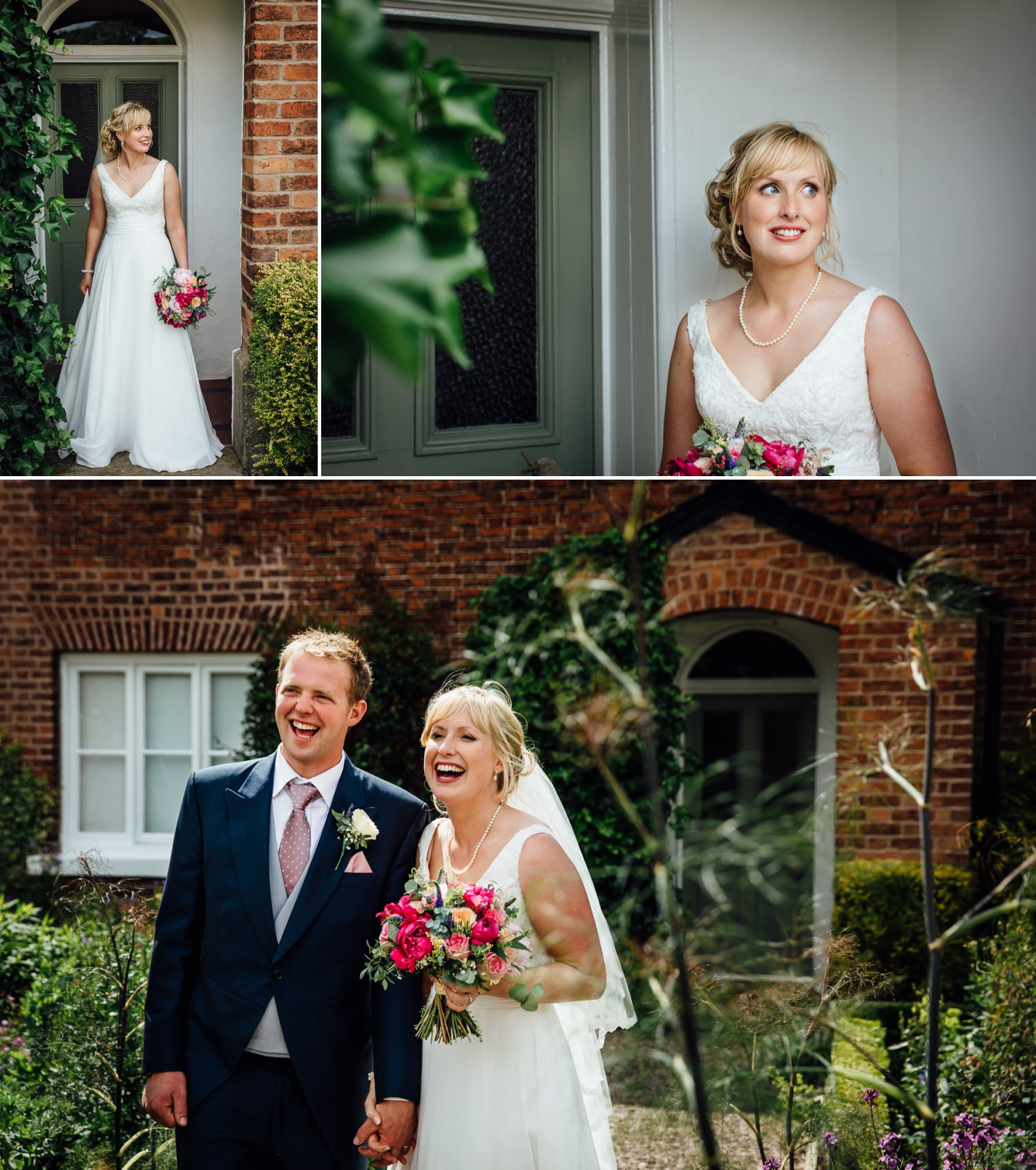 The bride and groom photographs at farm wedding in Macclesfield, Cheshire