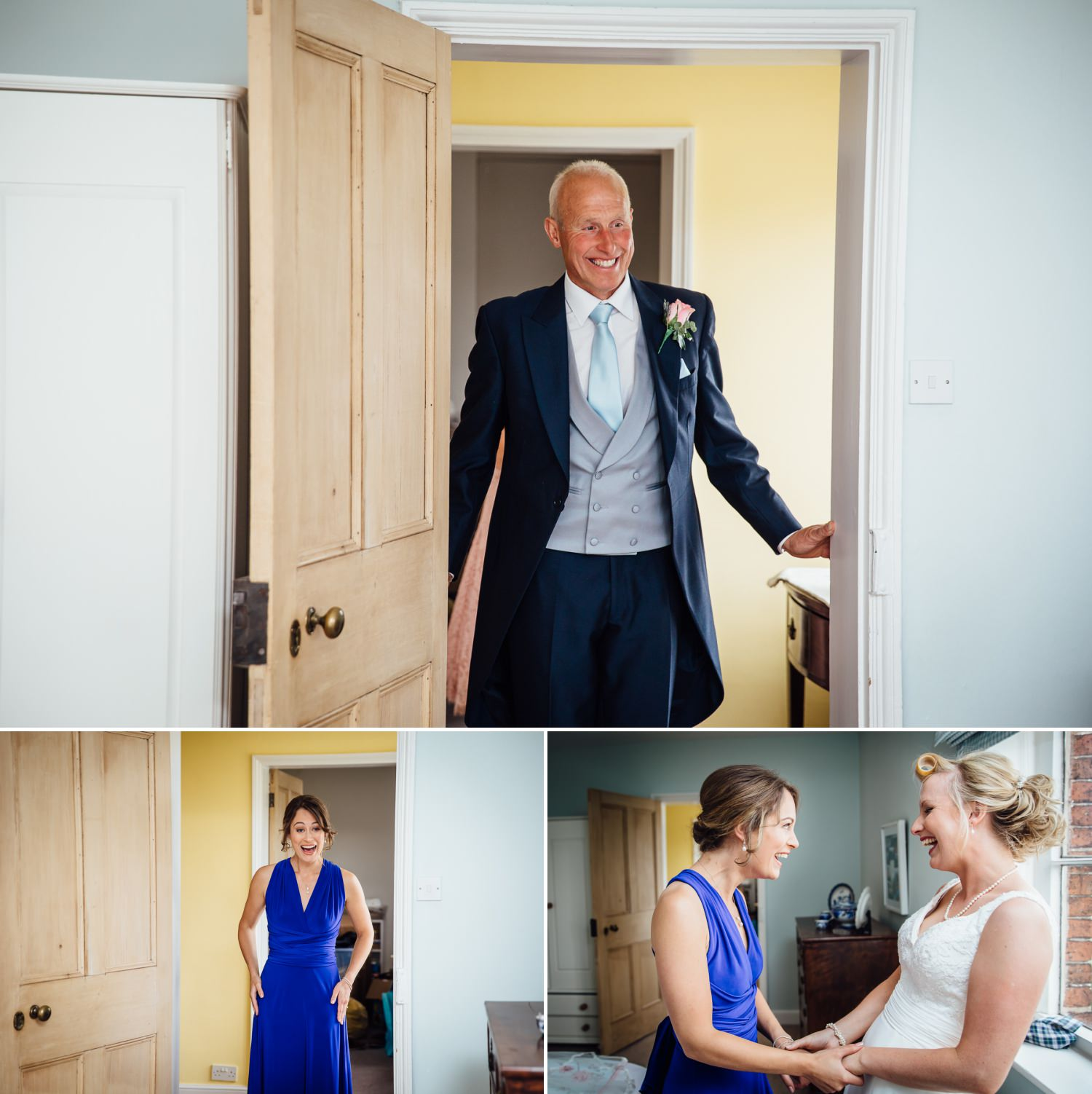 Father of the bride at a farm wedding in Macclesfield