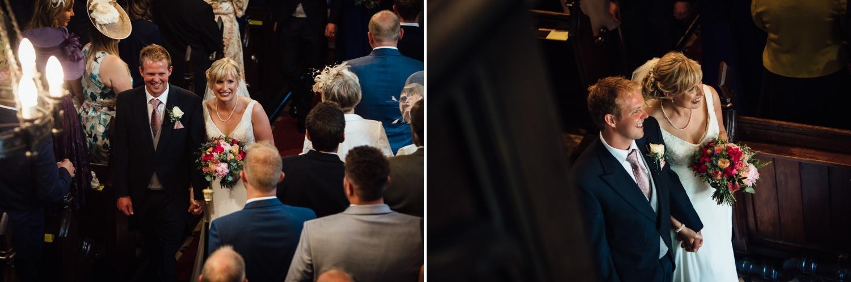 Siddington Church, Macclesfield wedding photo leaving the ceremony
