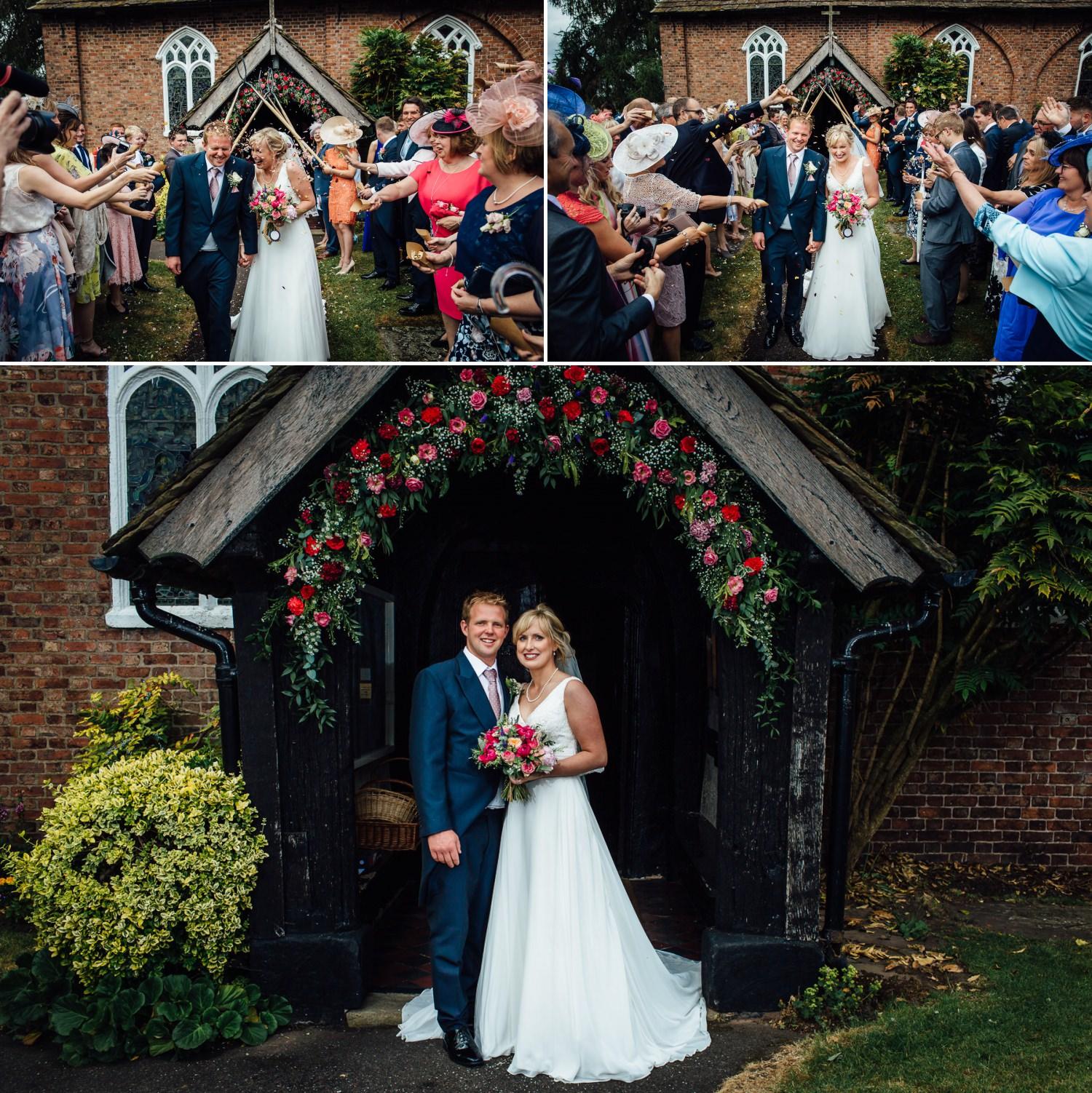 confetti Siddington Church, Macclesfield wedding photo
