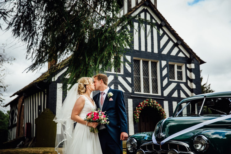 Photograph of car at Siddington Church, Macclesfield wedding