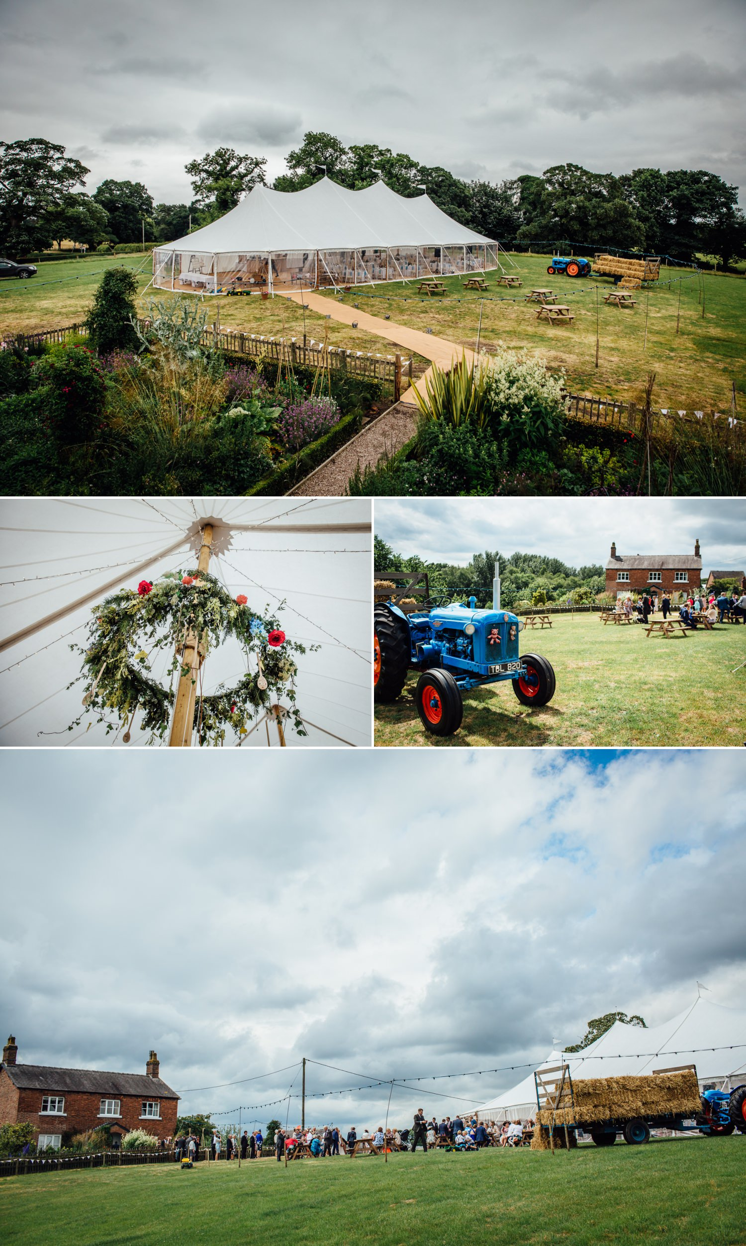 Photograph of Marquee at farm wedding in Macclesfield, Cheshire