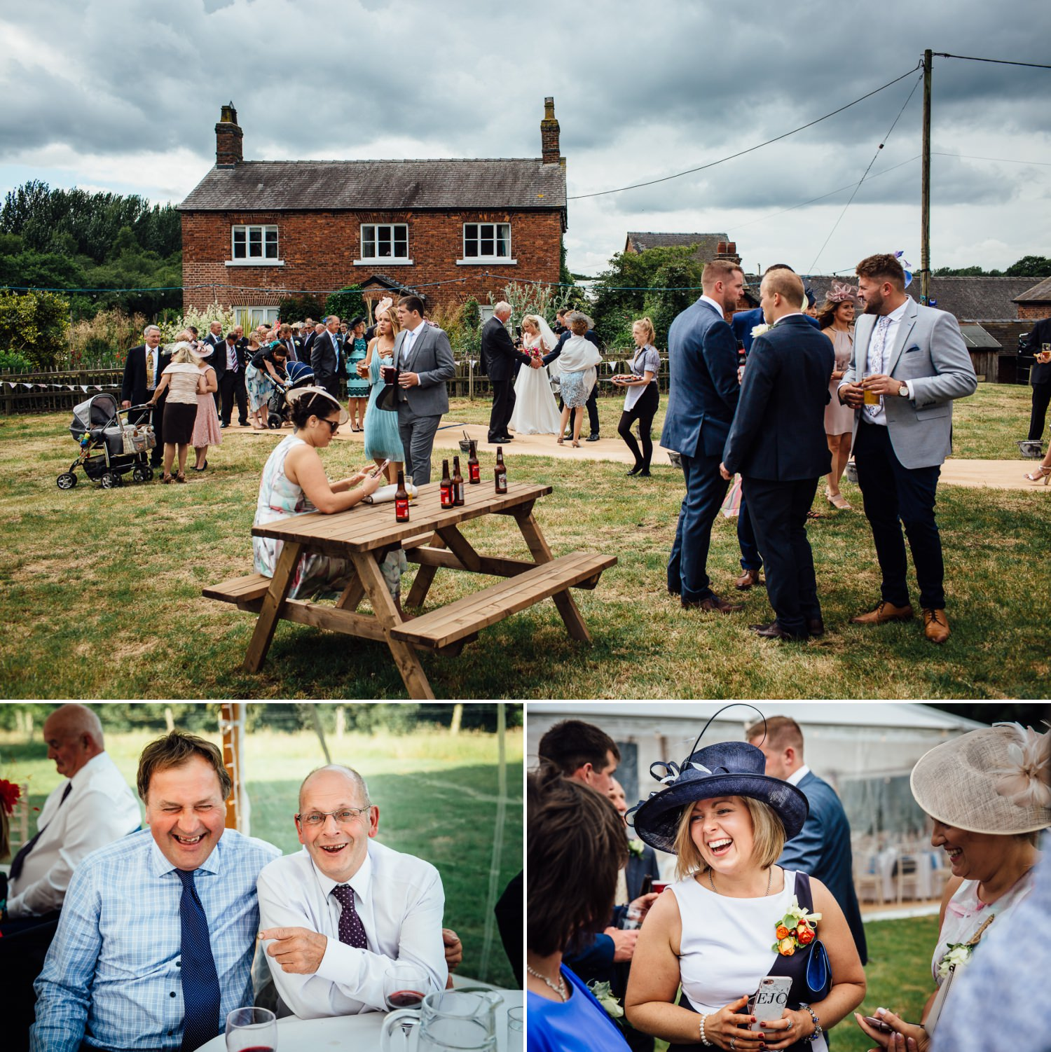 Guests mingling at farm wedding in Macclesfield, Cheshire