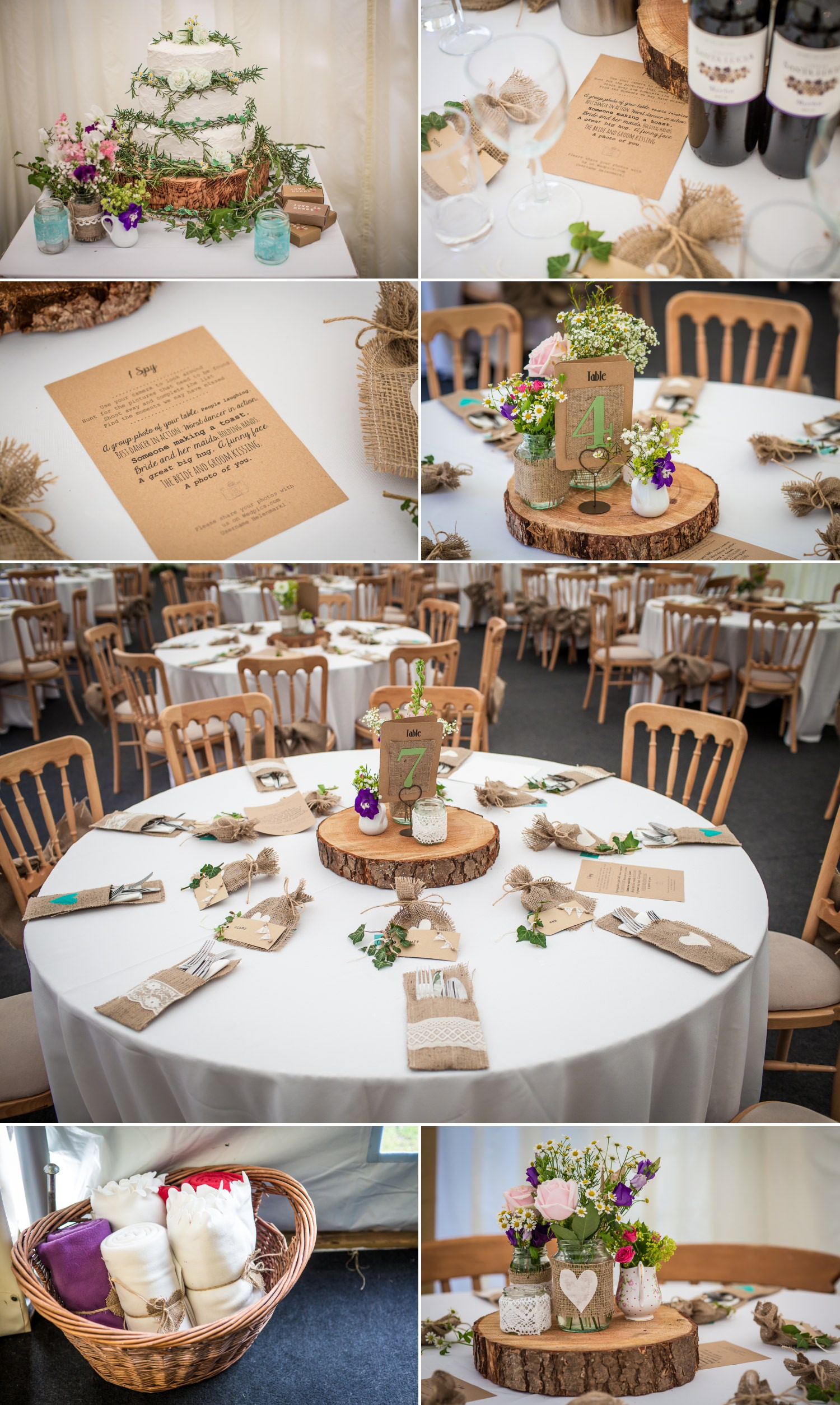 Pentre Mawr Country House Wedding Photograph of hessian table decorations