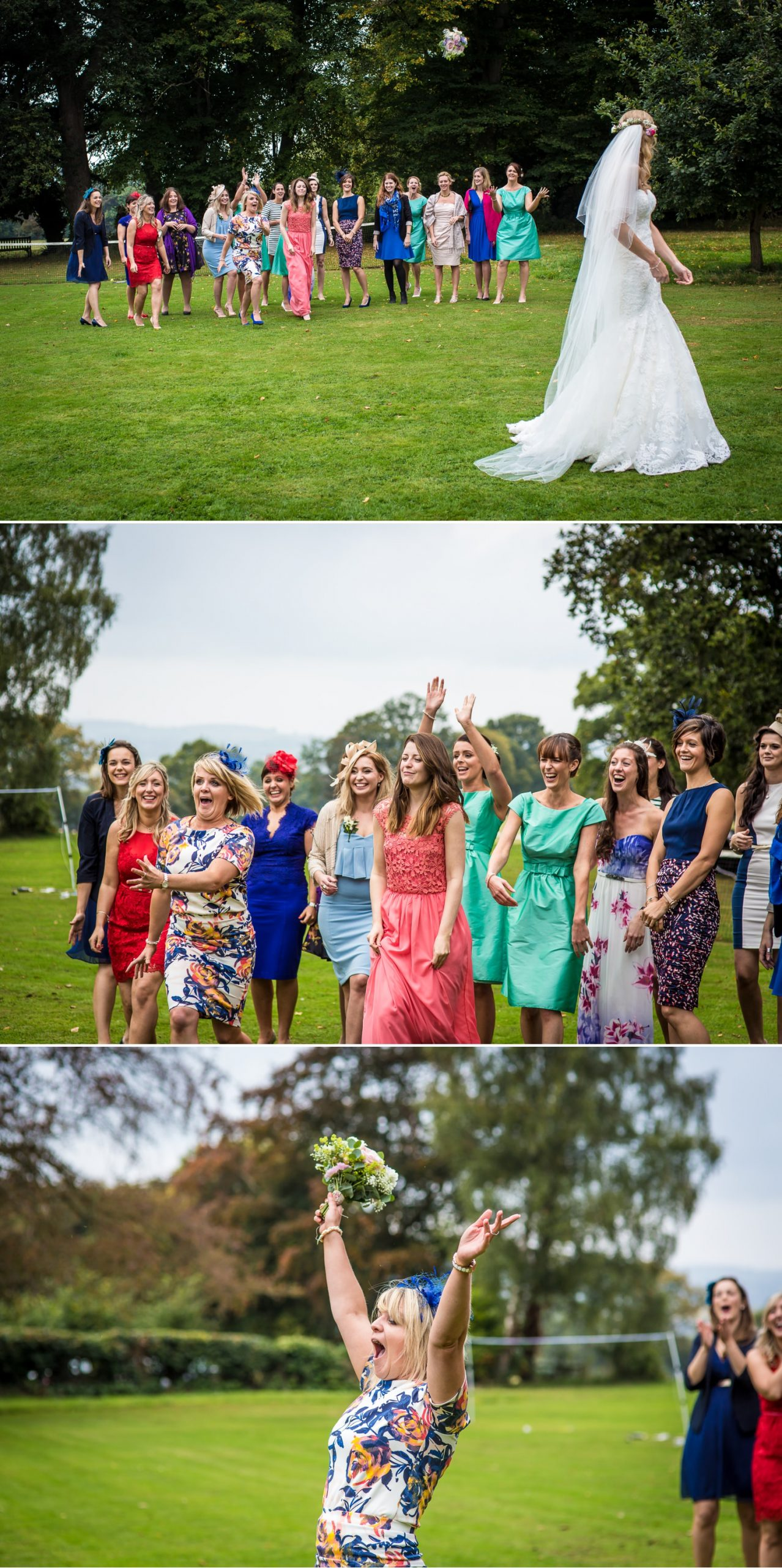 Wedding photography of the bouquet toss at Pentre Mawr Country House, North Wales