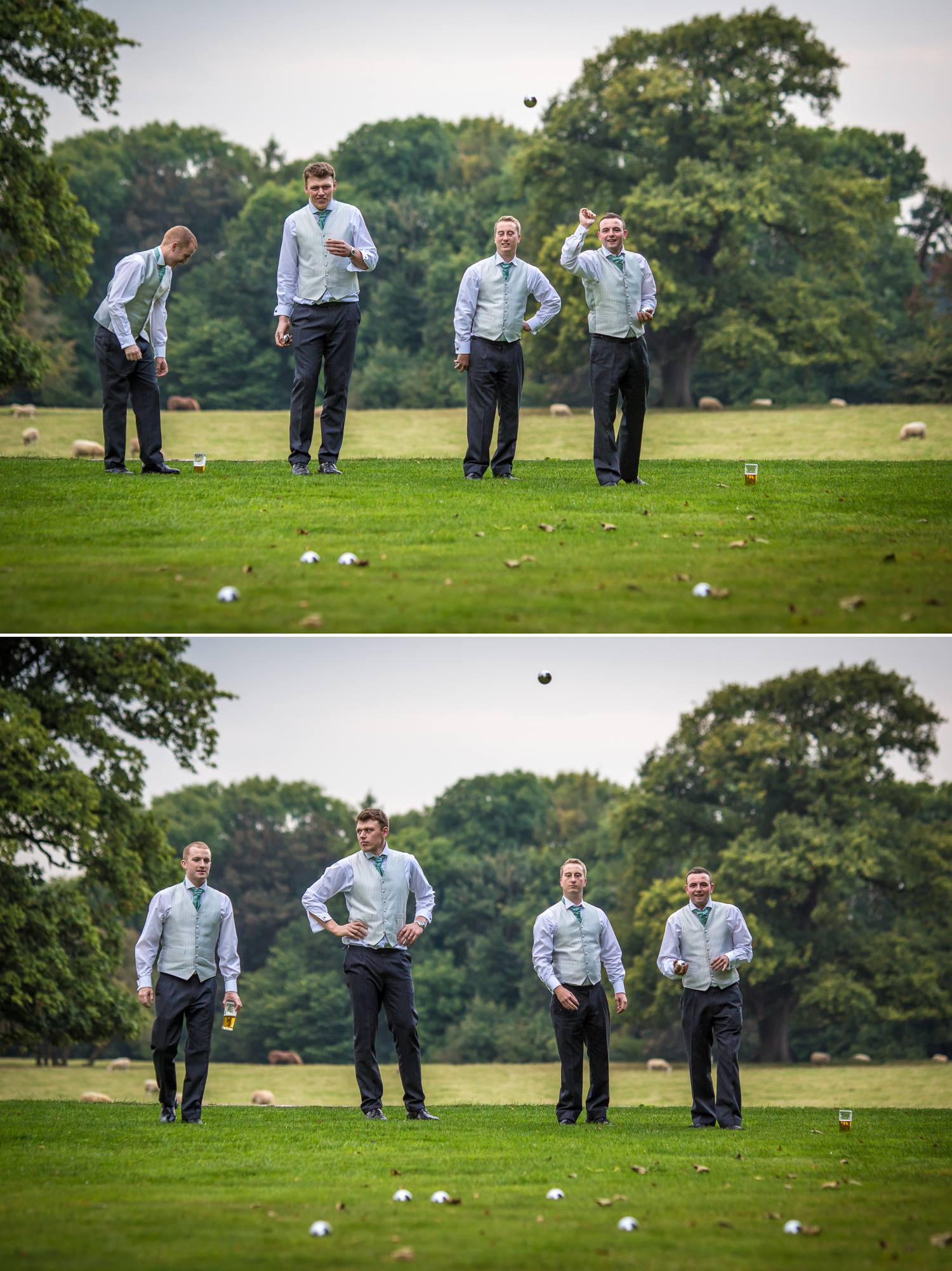 Pentre Mawr Country House Wedding Photograph of groomsmen playing bowls