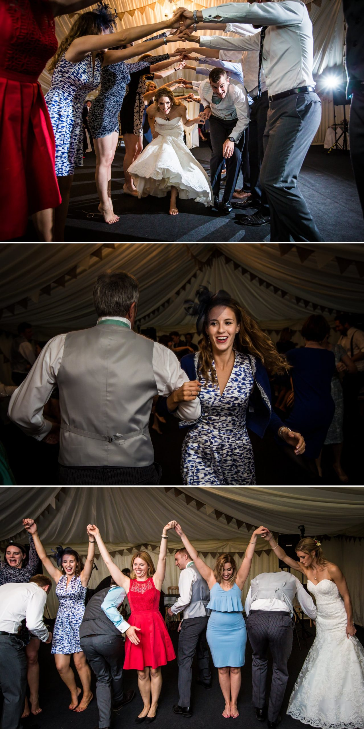 Country dancing wedding photograph at North Wales wedding venue, Pentre Mawr Country House