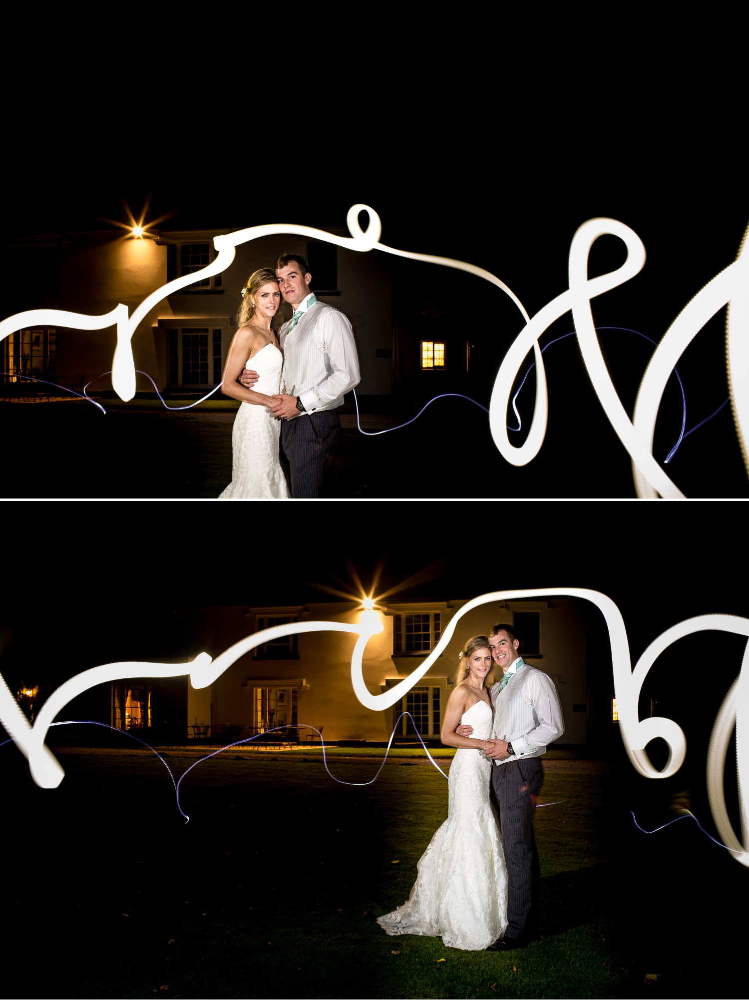 Pentre Mawr Country House Wedding Photograph using light painting