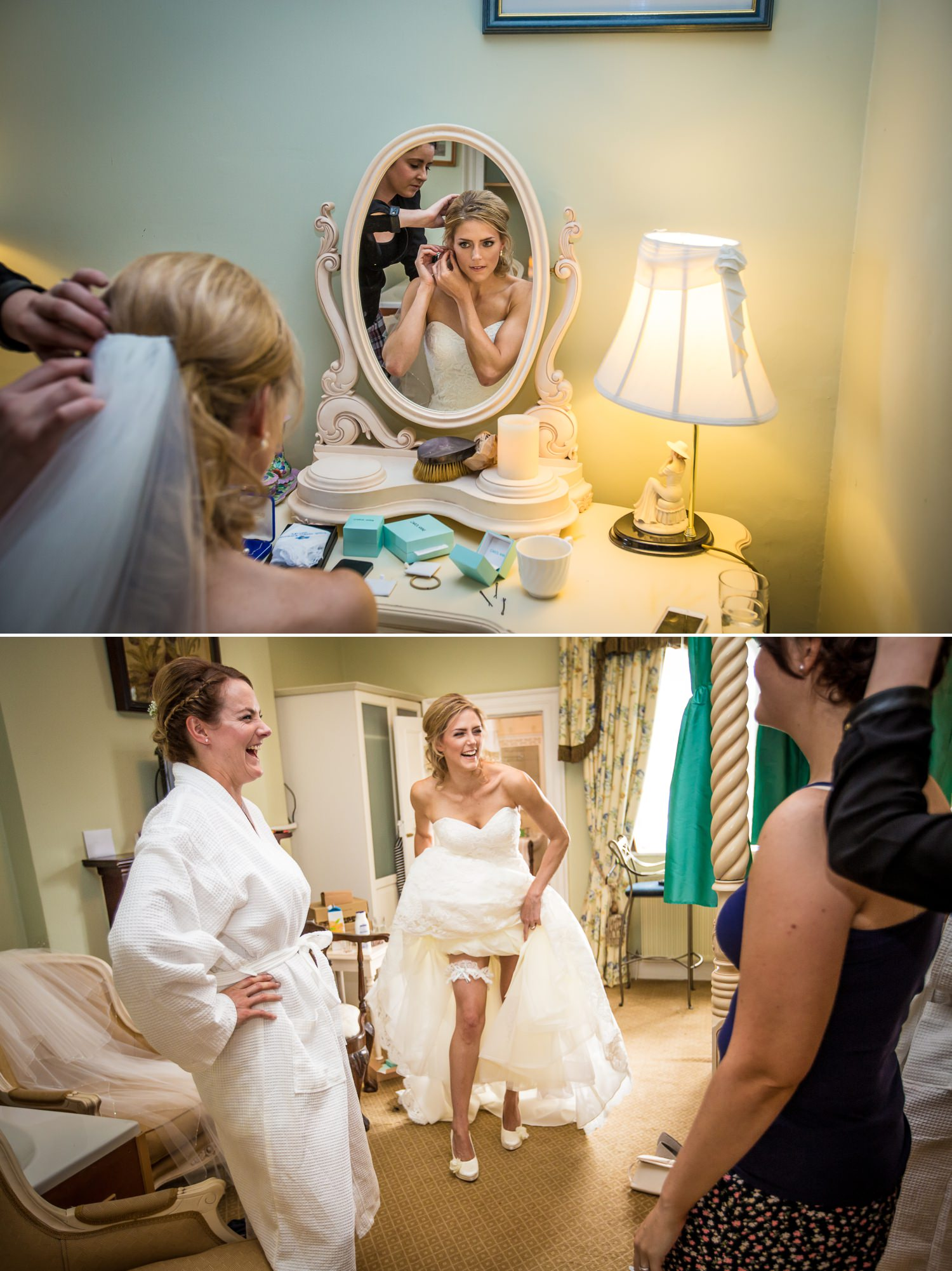 Pentre Mawr Country House Wedding Photograph of bride getting ready