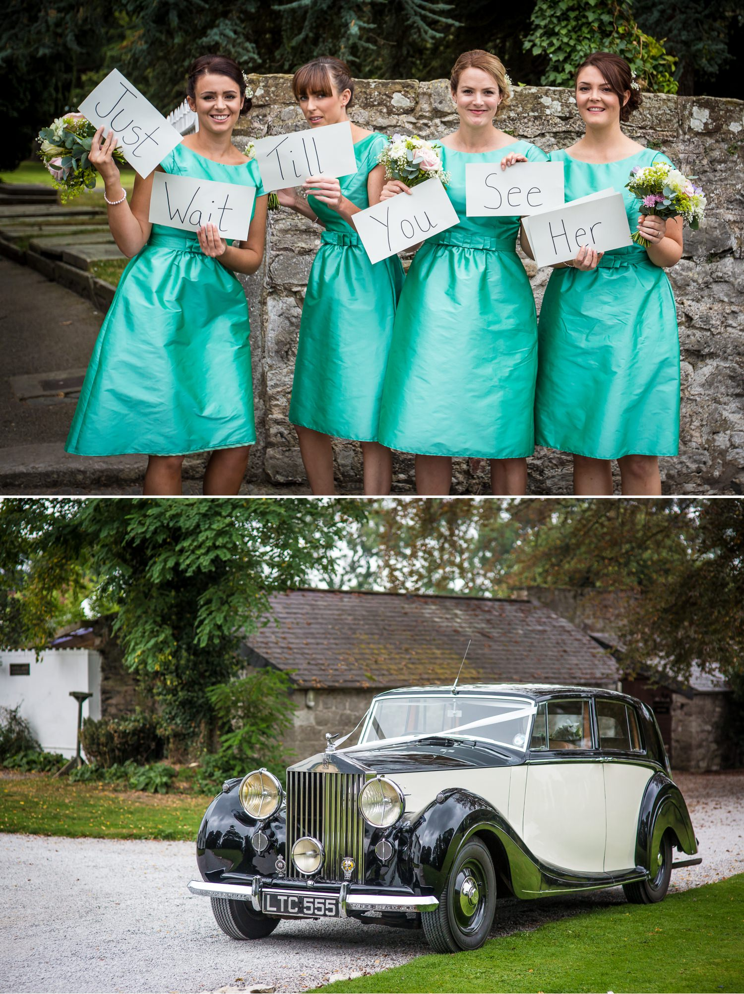Pentre Mawr Country House Wedding Photograph of bridesmaids outside church