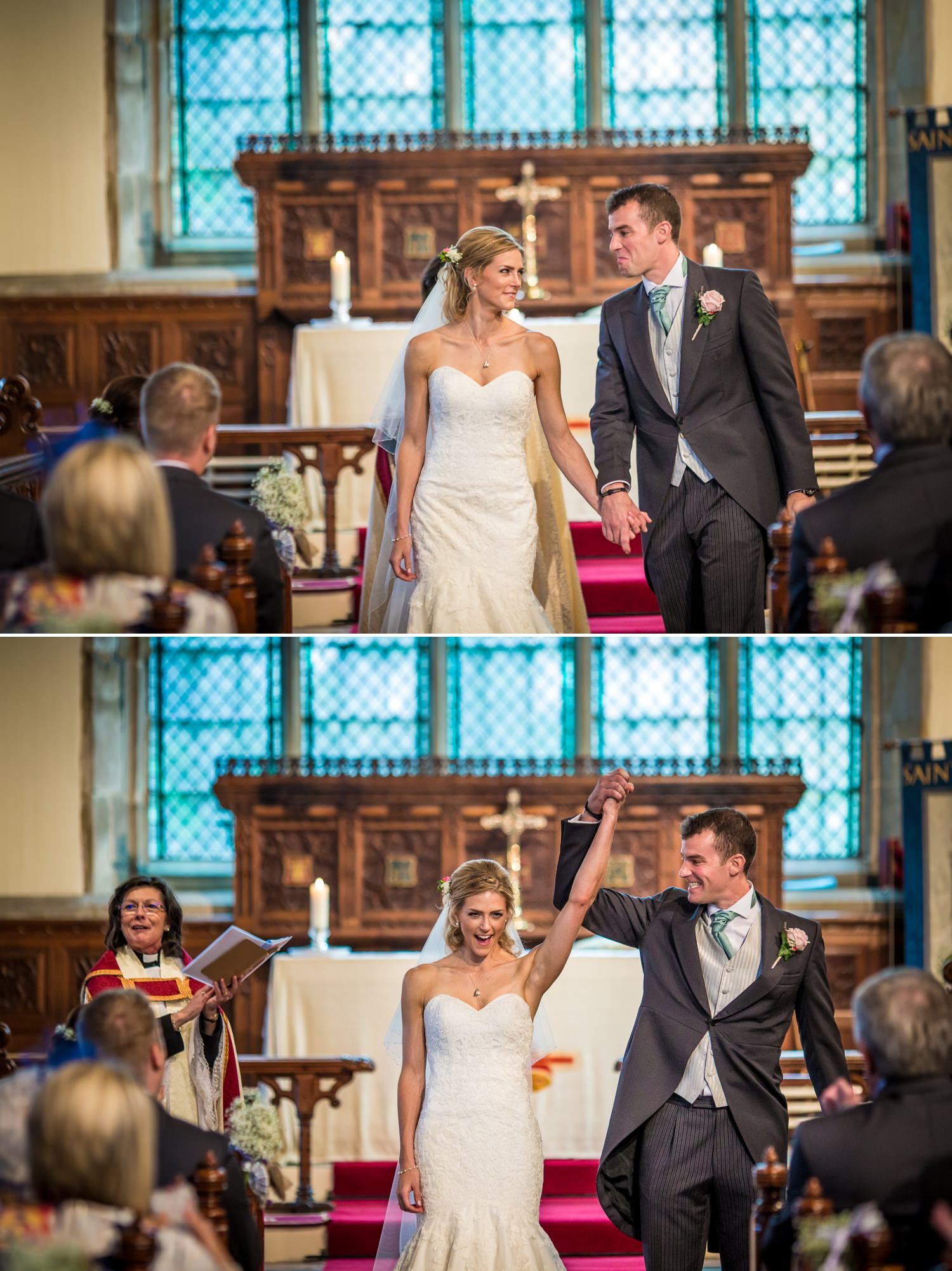 Pentre Mawr Country House Wedding Photograph of a couple walking down the aisle