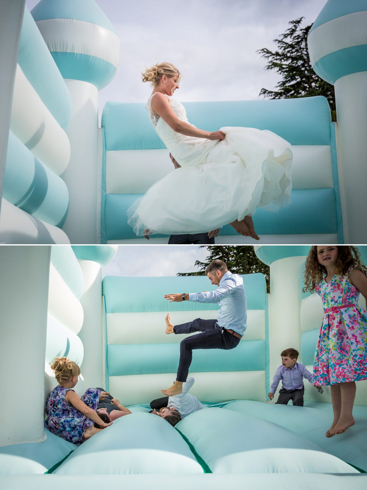 Bouncy castle wedding photography at Pentrehobyn Hall