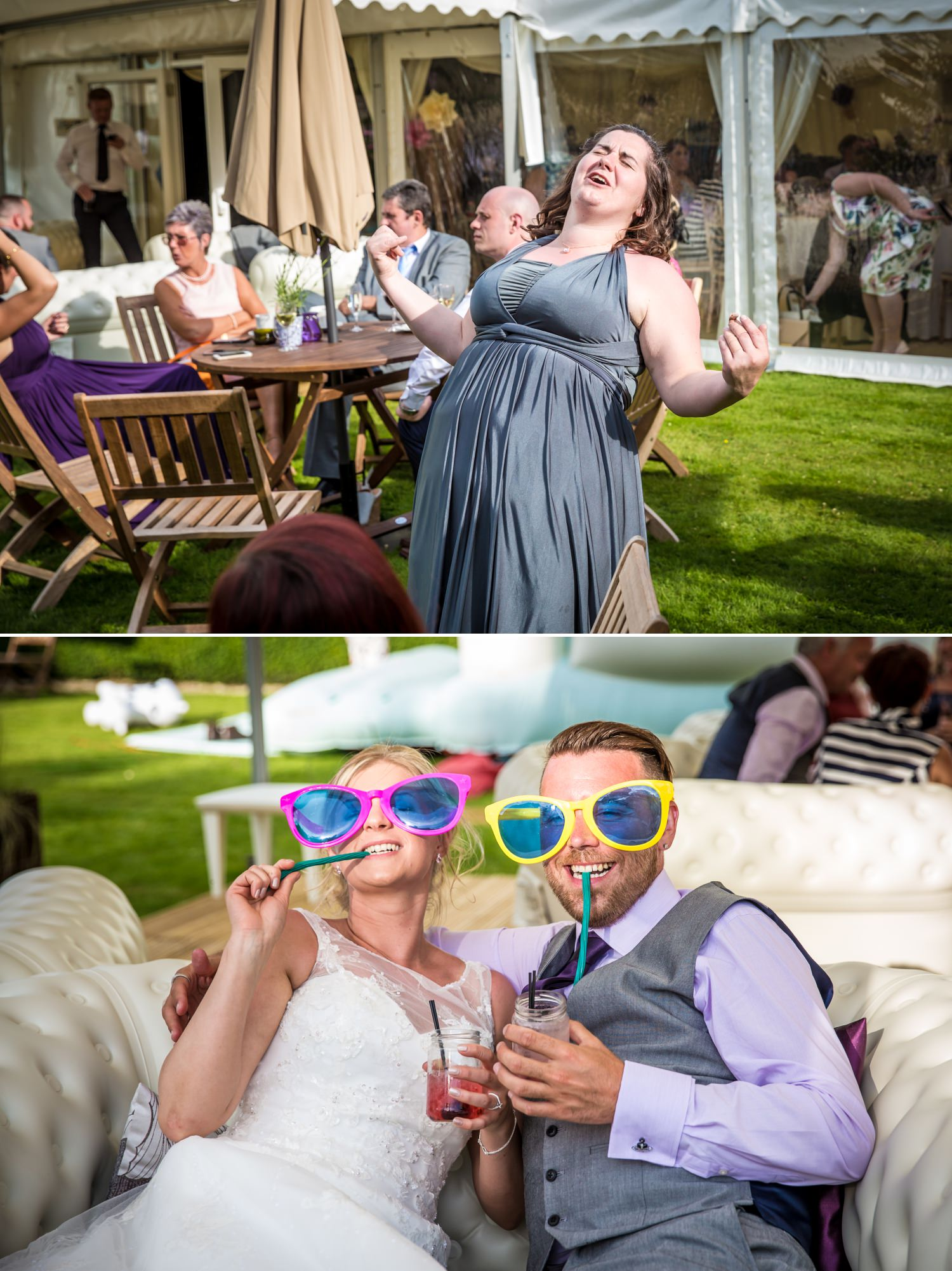 Wedding photography of guests mingling at Pentrehobyn Hall