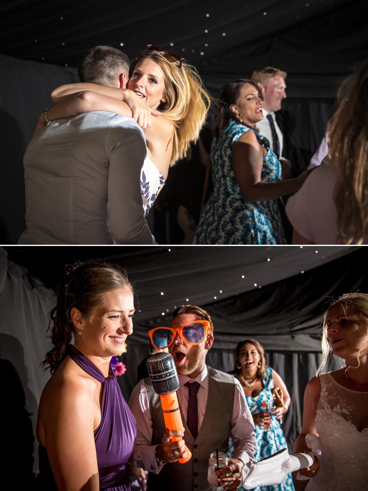 Wedding photographs of evening dancing at Pentrehobyn Hall
