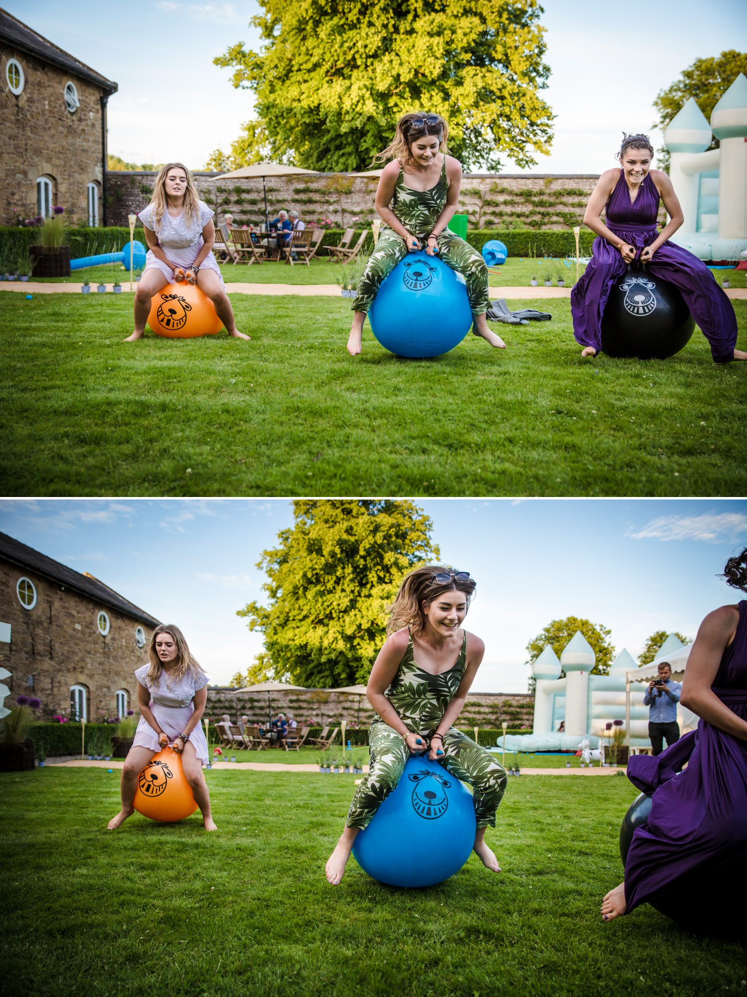Wedding photographs of bouncing at Pentrehobyn Hall