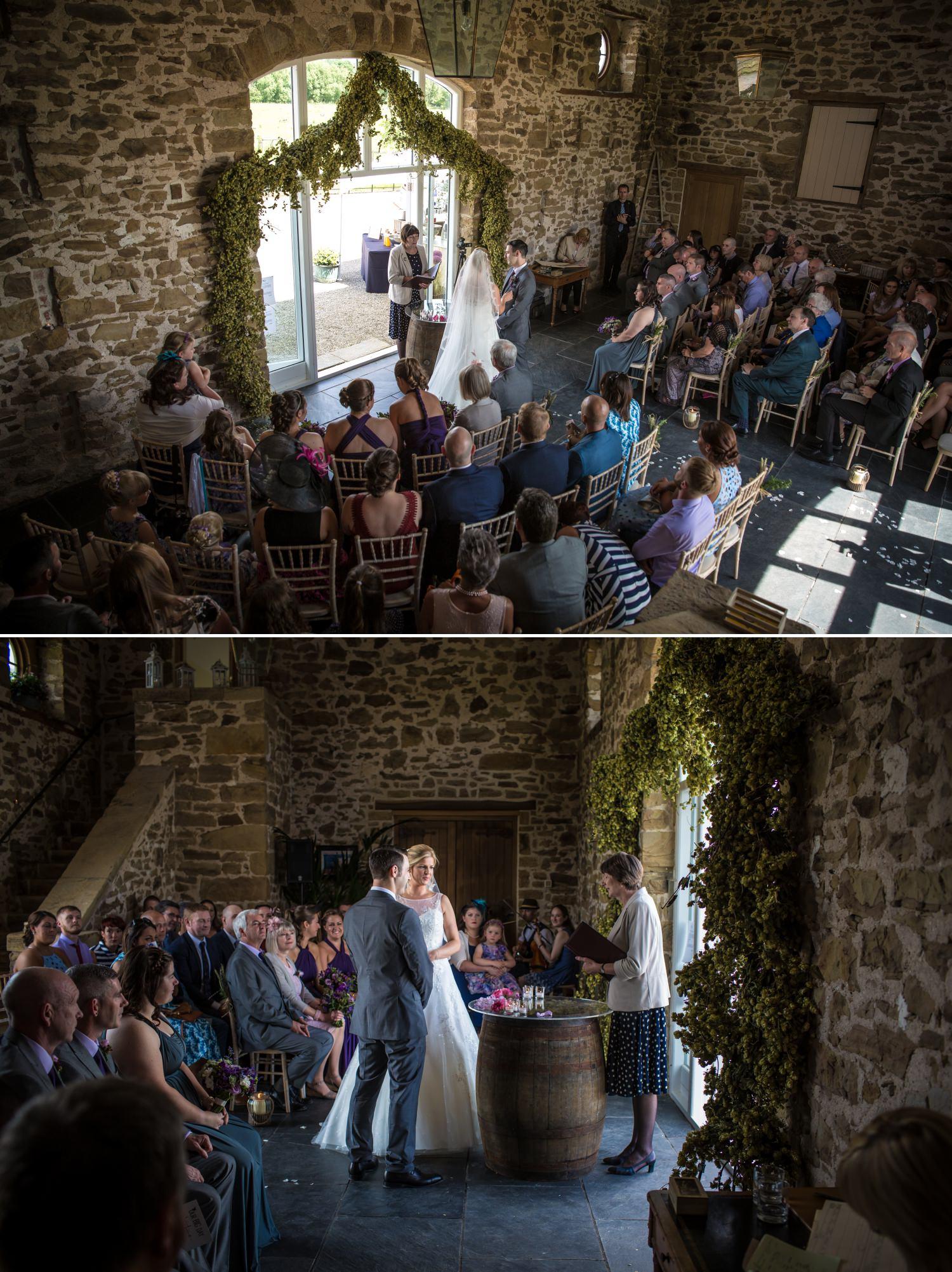 Wedding ceremony photographer at Pentrehobyn Hall