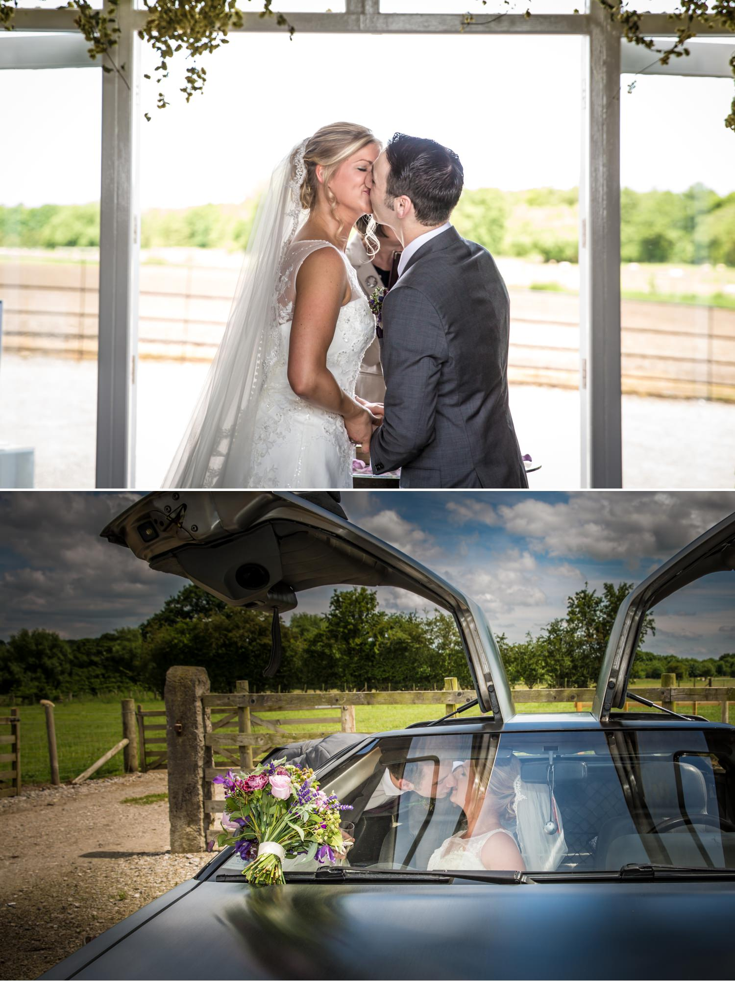 First kiss wedding photography at Pentrehobyn Hall